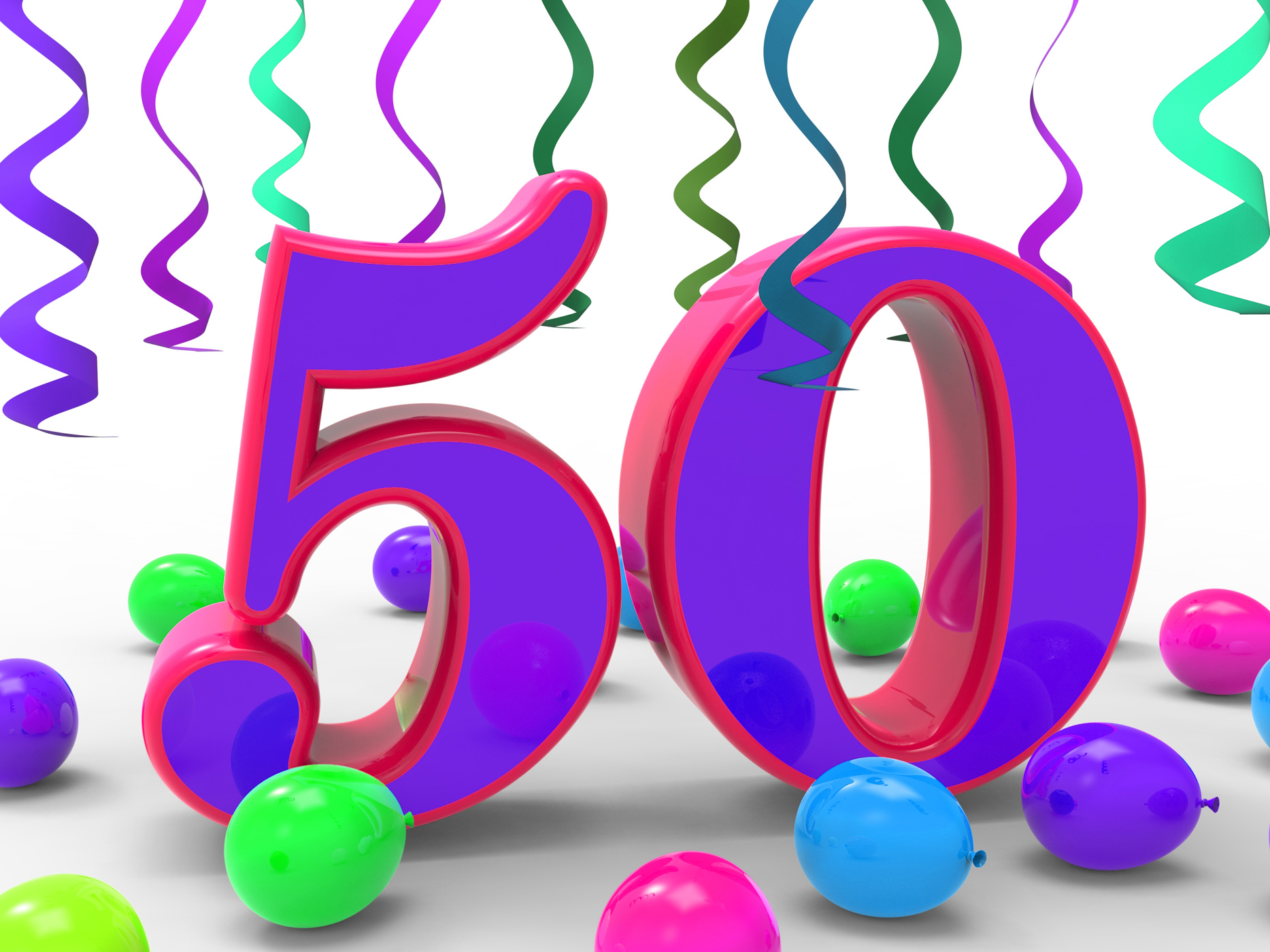 Number fifty party means colourful birthday party or decorated celebra photo