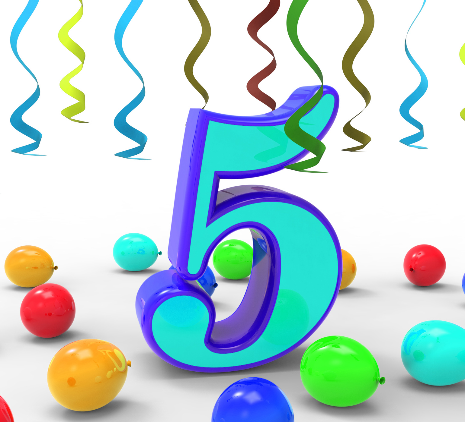 Number five party means creativity or colourful balloons photo