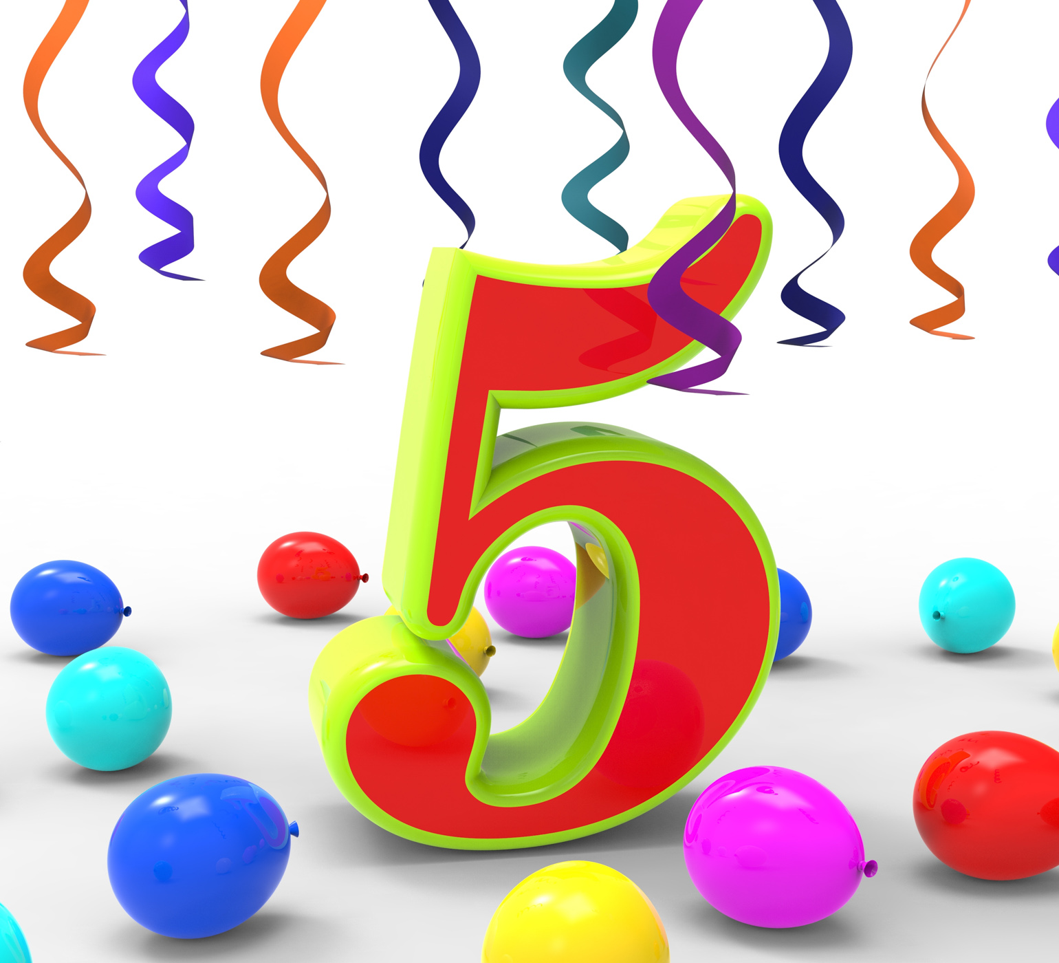 Number five party shows multi coloured decorations and confetti photo