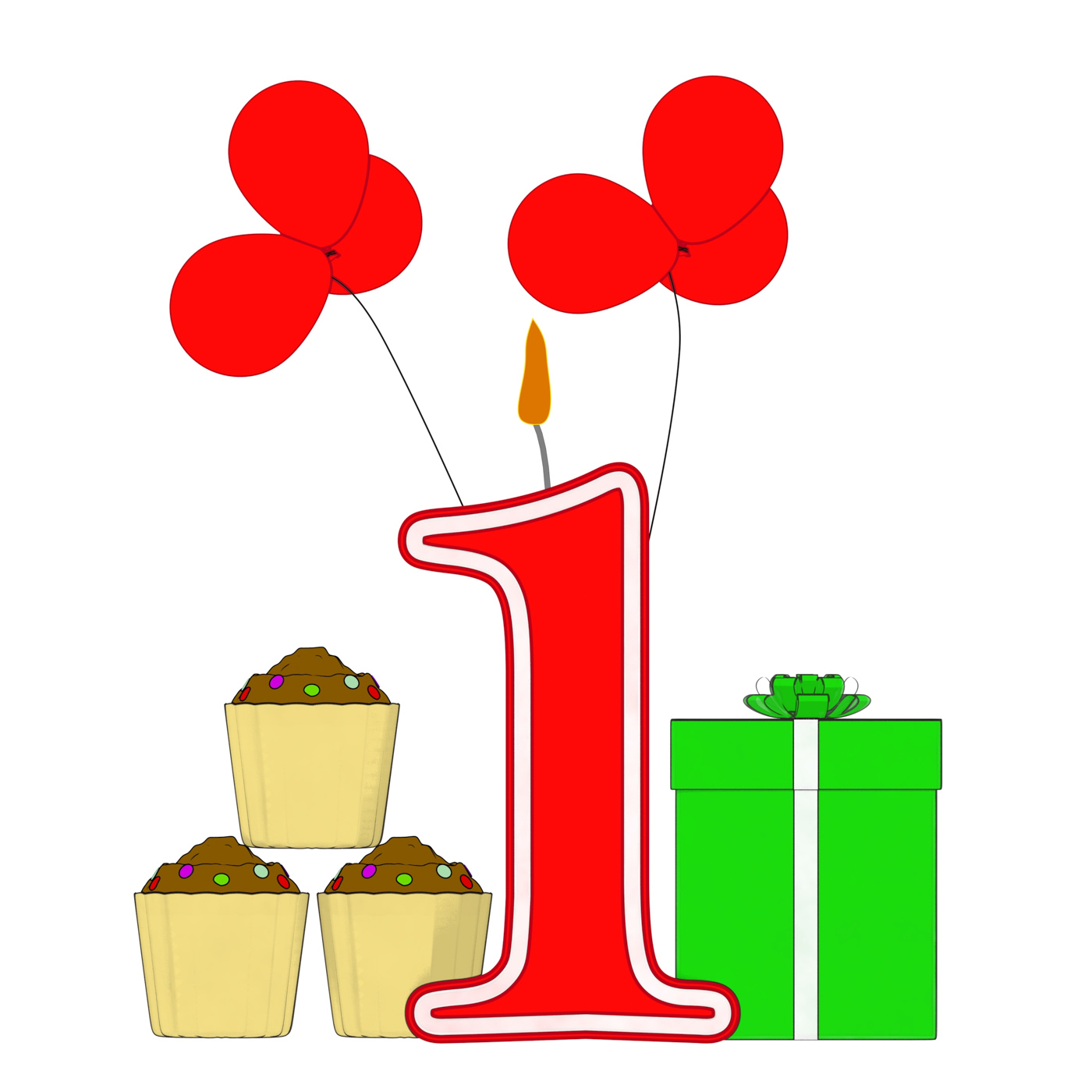Number one candle shows one year birthday party or celebration photo