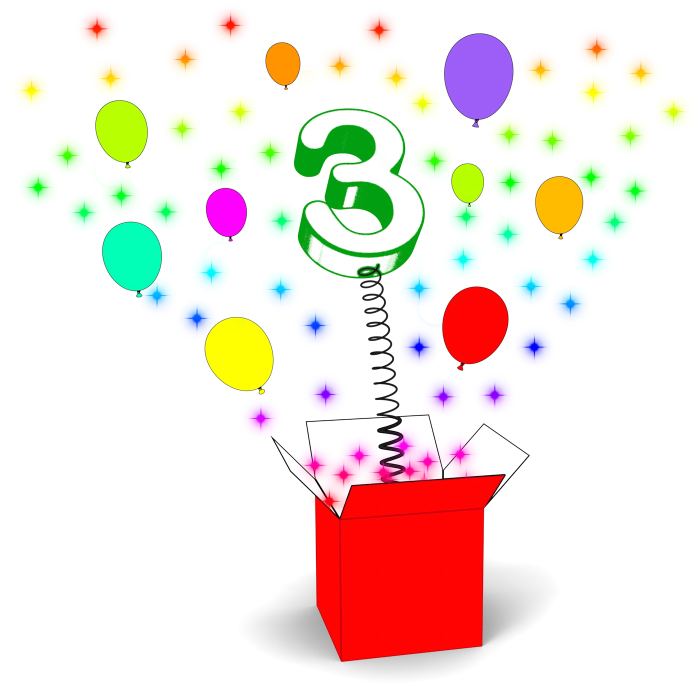Number Three Surprise Box Means Celebration And Colourful Balloons, 3, Number, Surprisebox, Surprise, HQ Photo