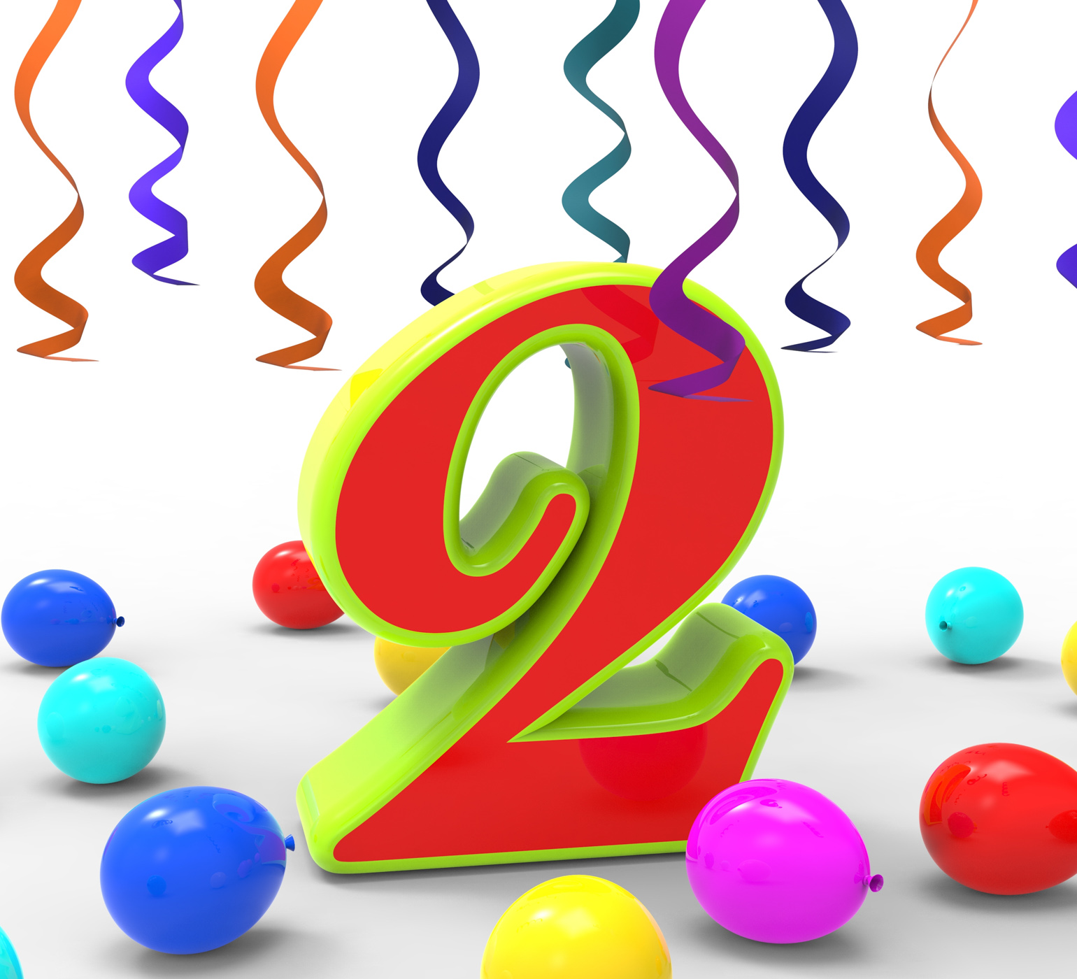 Number Two Party Shows Birthday Celebration Or Party, 2, 2nd, 3d, Balloons, HQ Photo