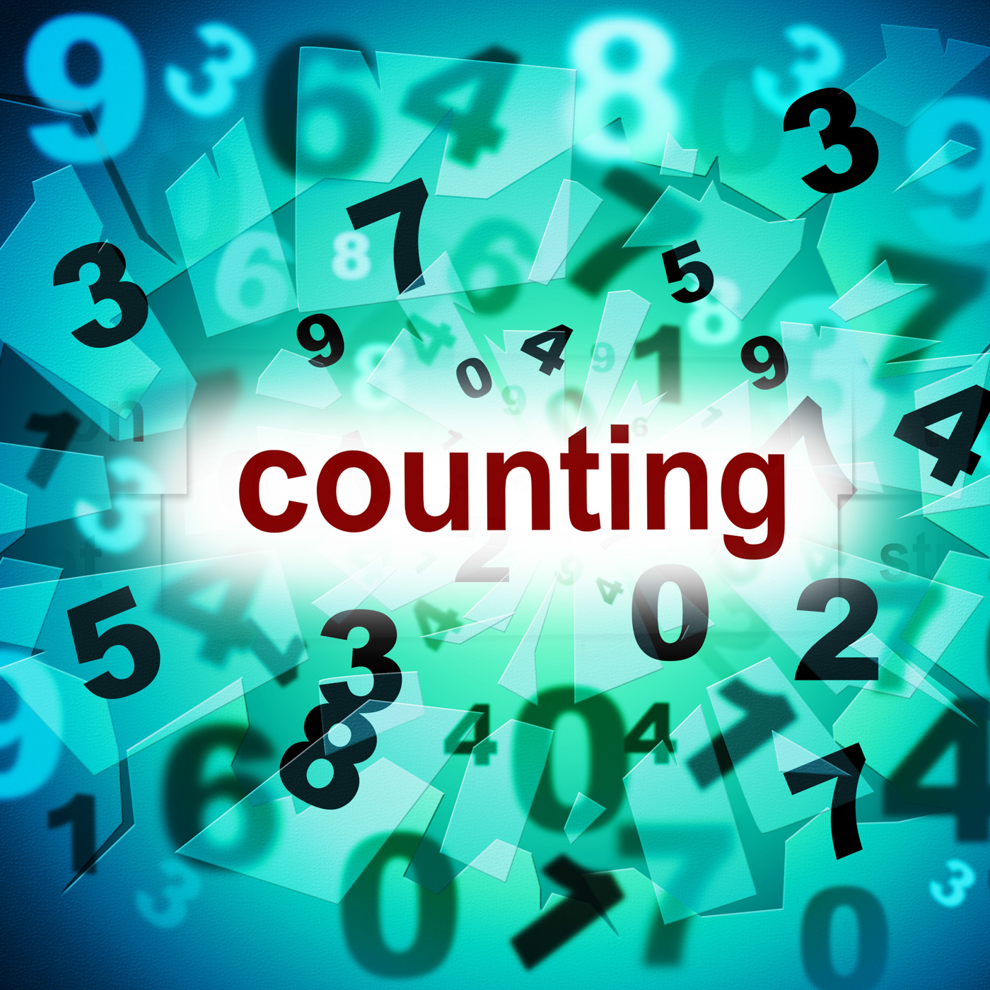 Numbers counting represents one two three and learn photo