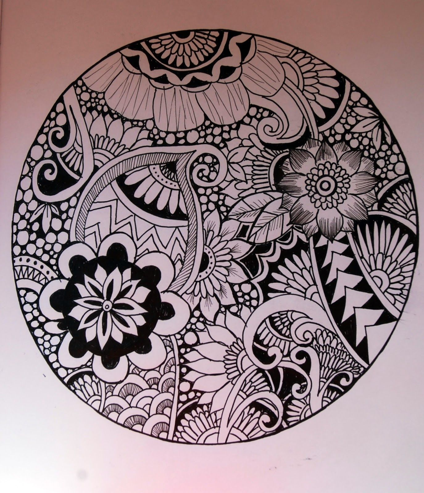 coco.nut: black & white Zentangle circle flowers | draw | Pinterest ...