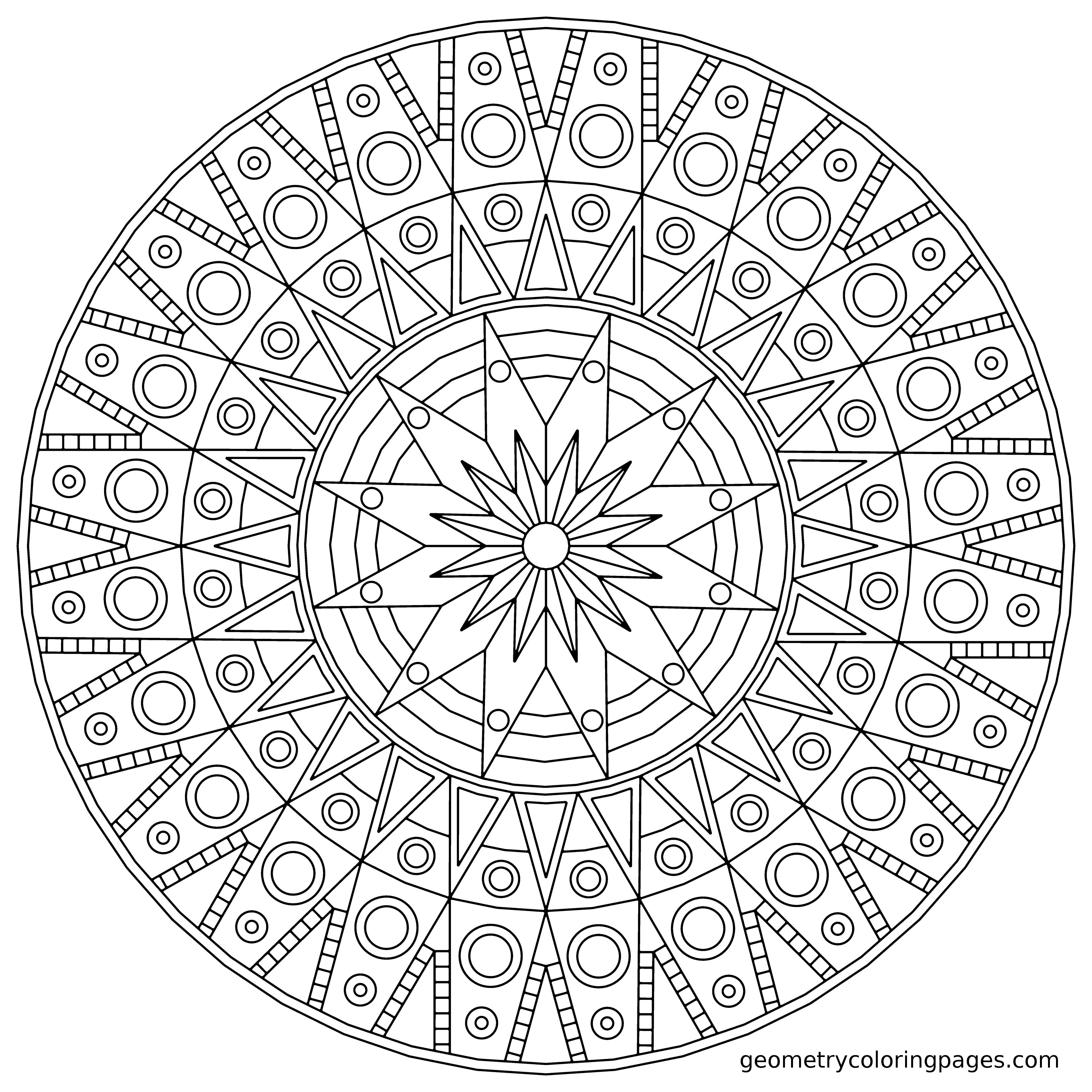 Mandala Coloring Page, Sundial from geometrycoloringpages.com ...