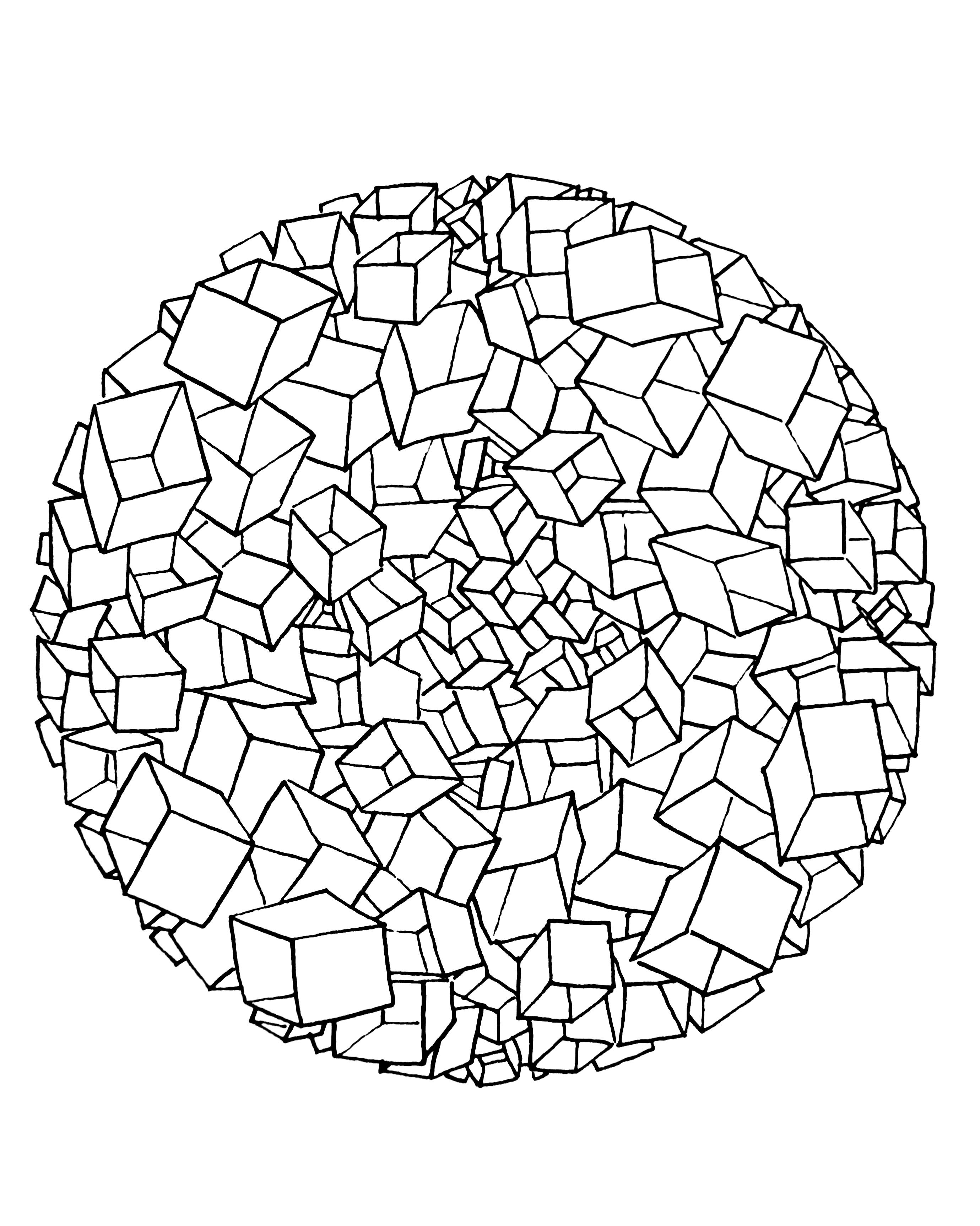 Free coloring page free-mandala-to-color-cubes-3d. It's look like ...