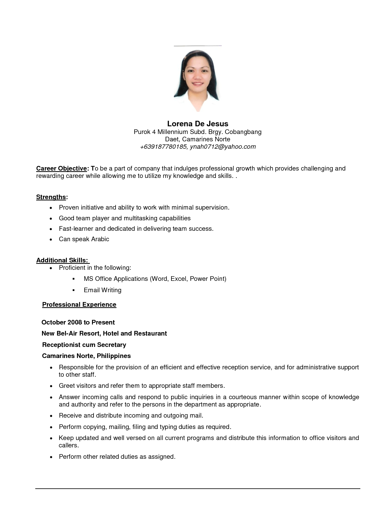 Simple Objective For Resume - jmckell.Com