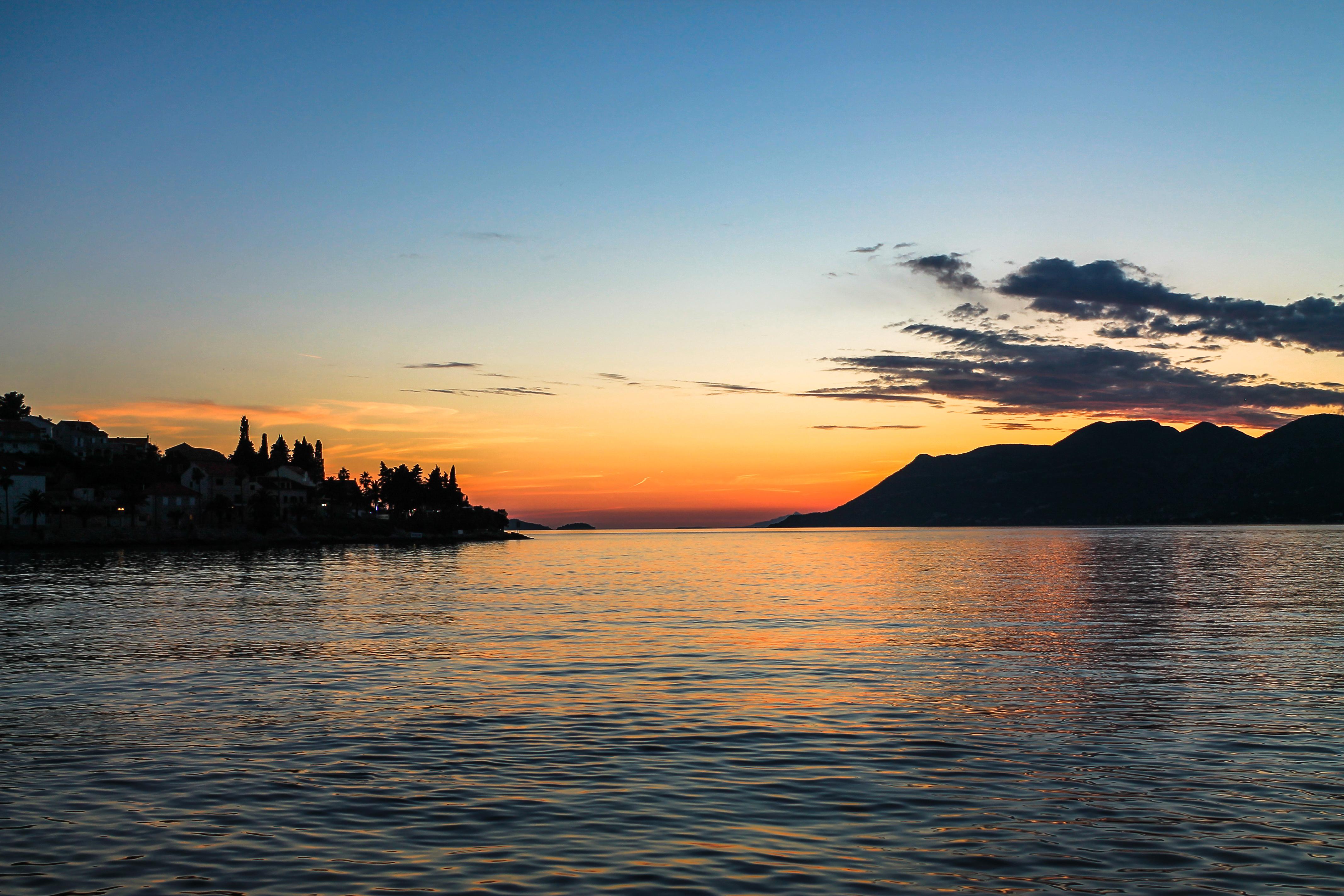 Ocean summer sunset, Scene, Red, Orange, Ocean, HQ Photo