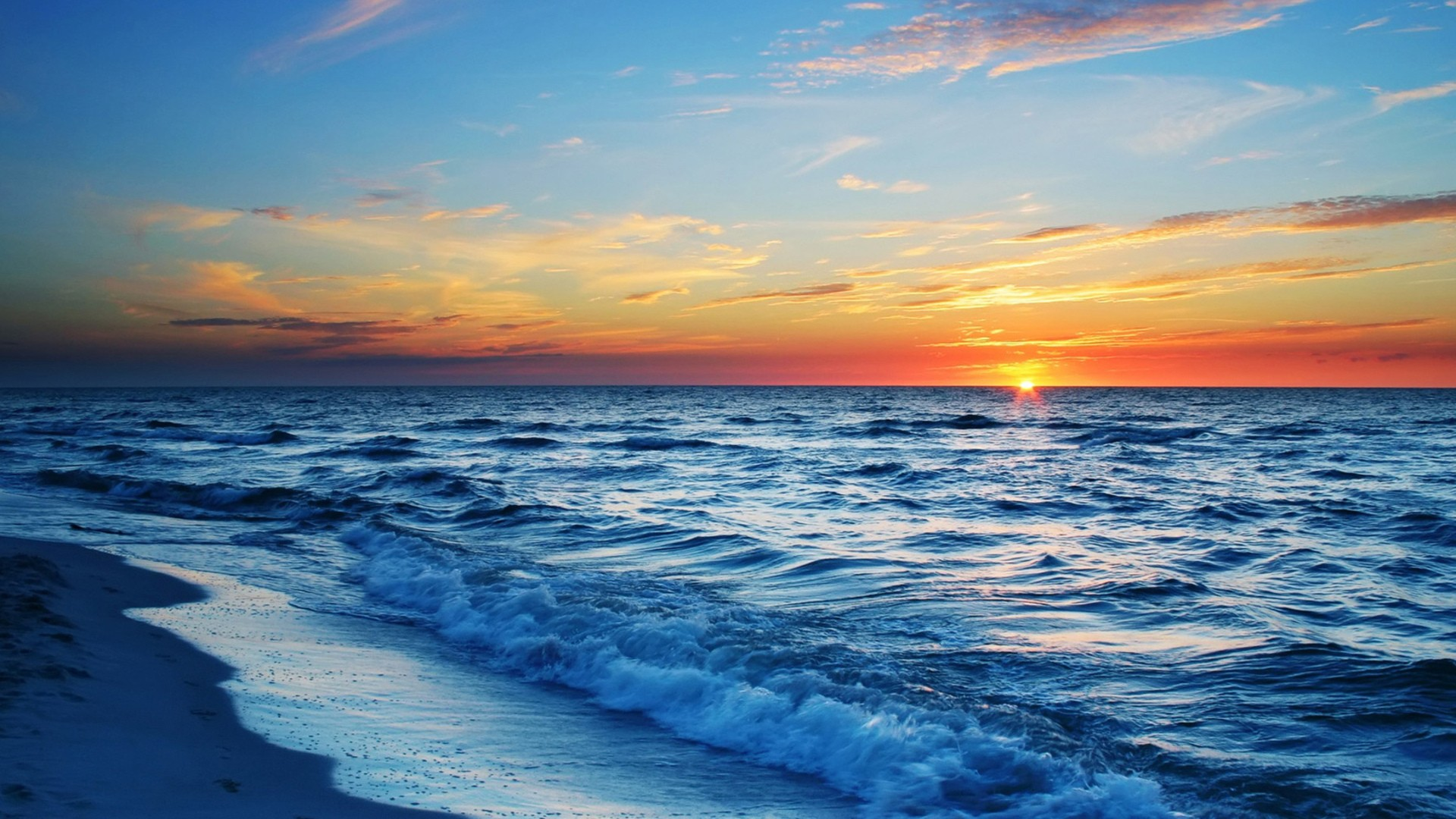 Oceans: Superb Ocean Sunset Earth Horizon Beach Wide Screen for HD ...