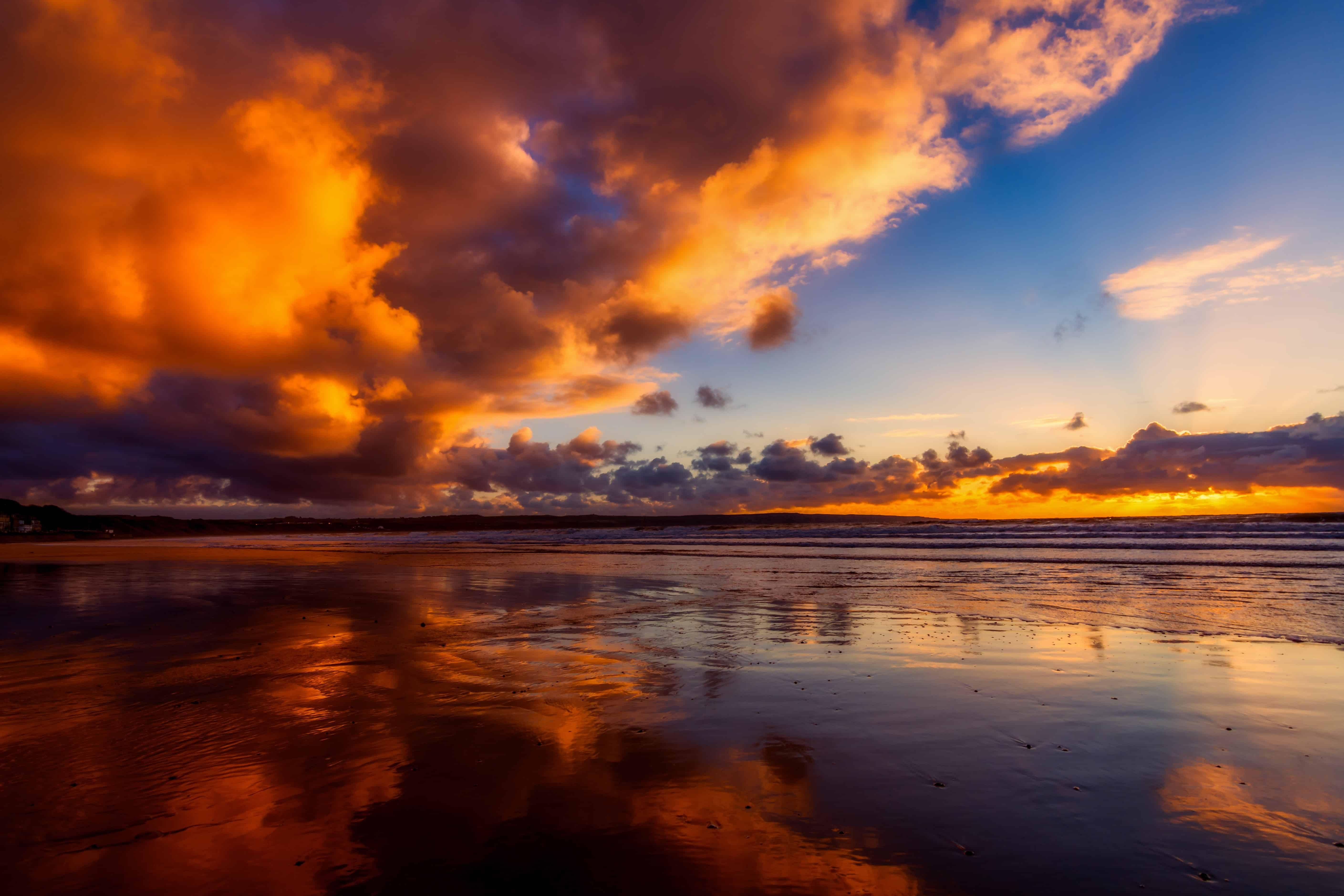 Free picture: water, nature, ocean, sunset, beach, sun, dusk