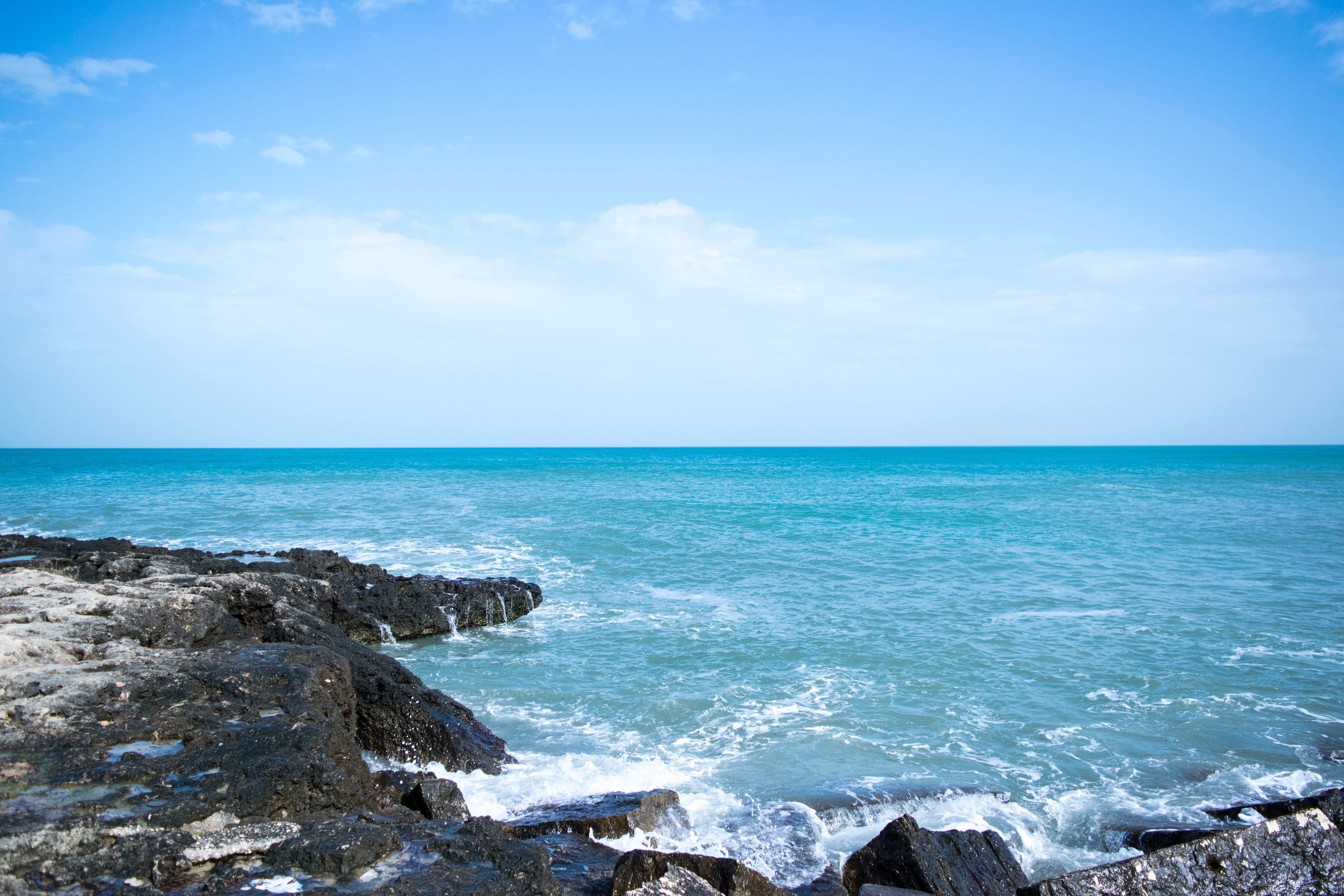 Ocean View With Black Rock Formation, Blue, Sea, Water, Splash, HQ Photo