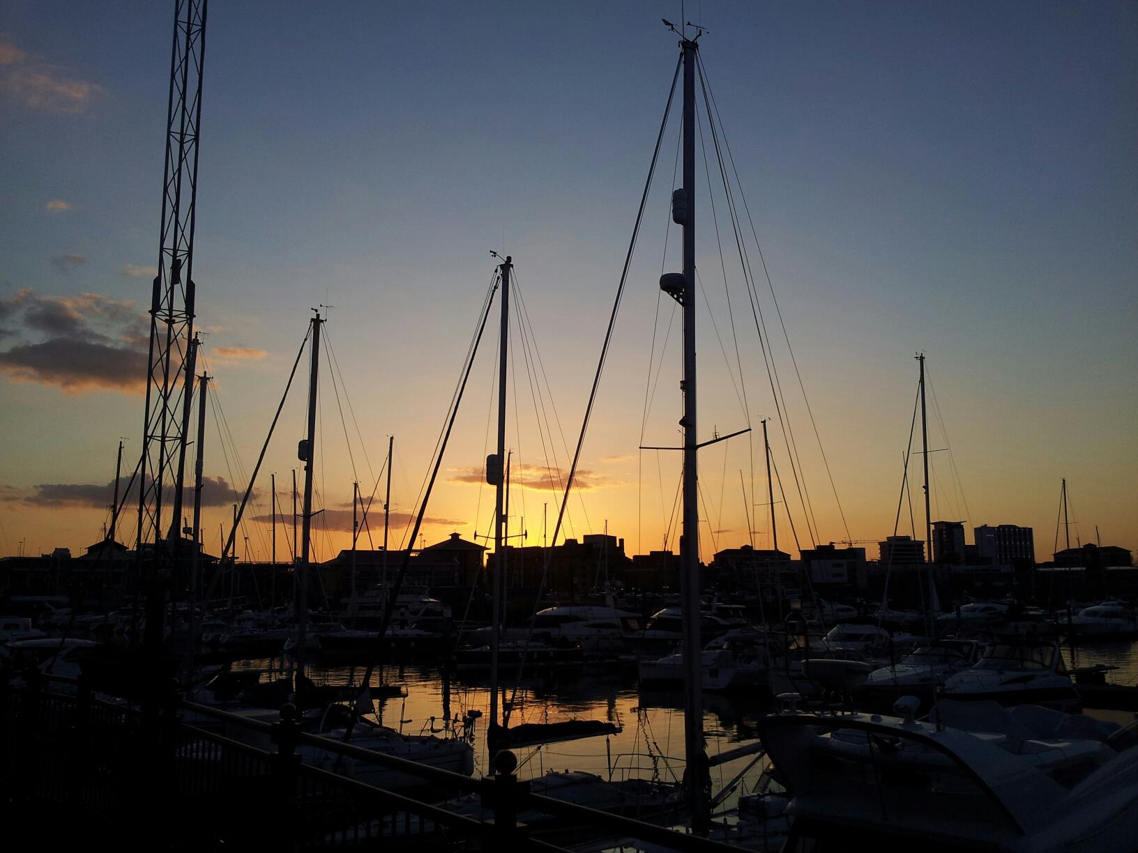I took a photo of the sunset over Southampton marina (Ocean Village ...