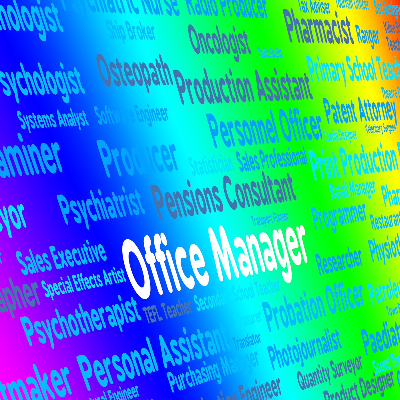 Office manager shows position proprietor and overseer photo