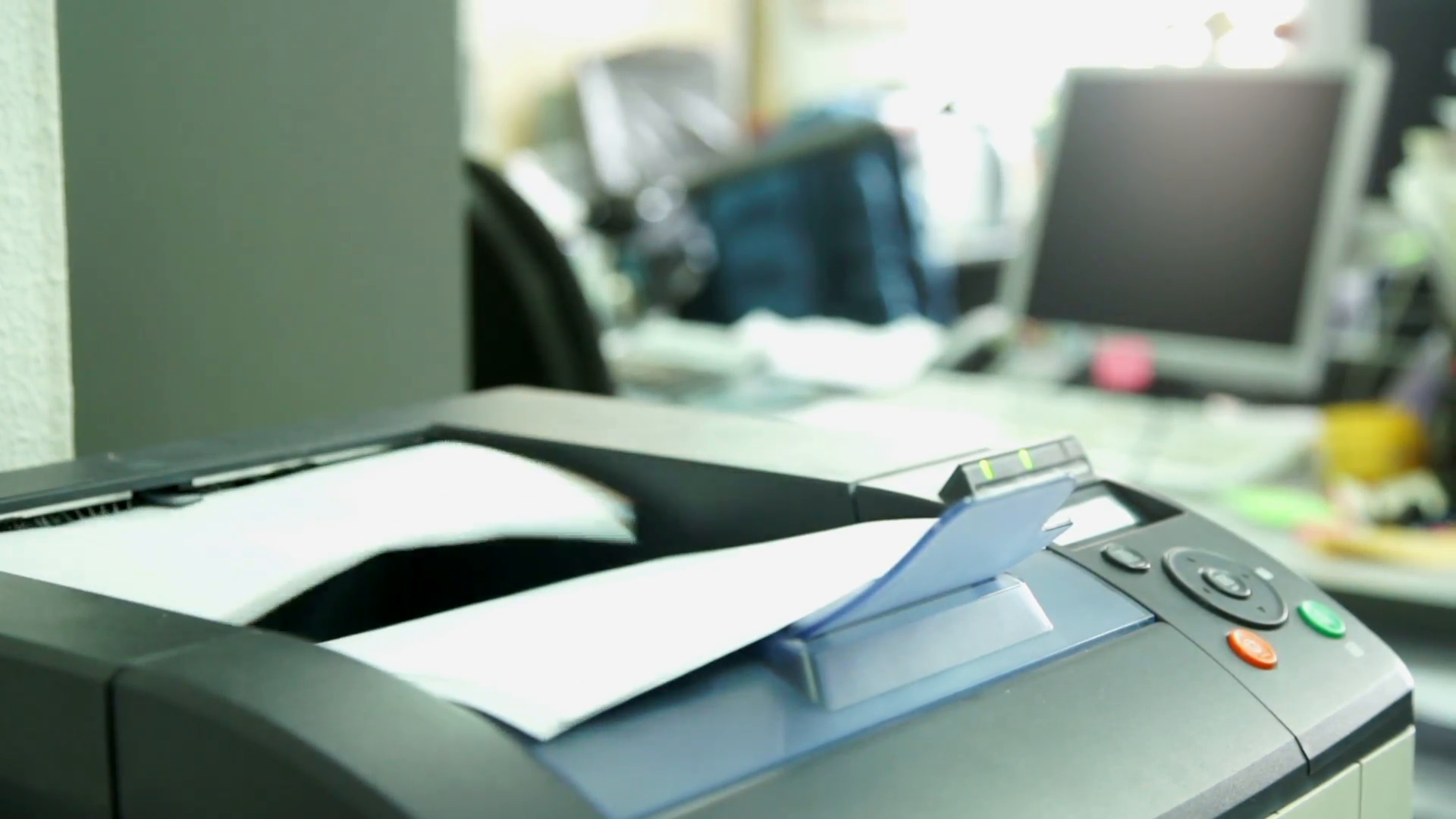 Printing document paper with laser printer. Office work and ...