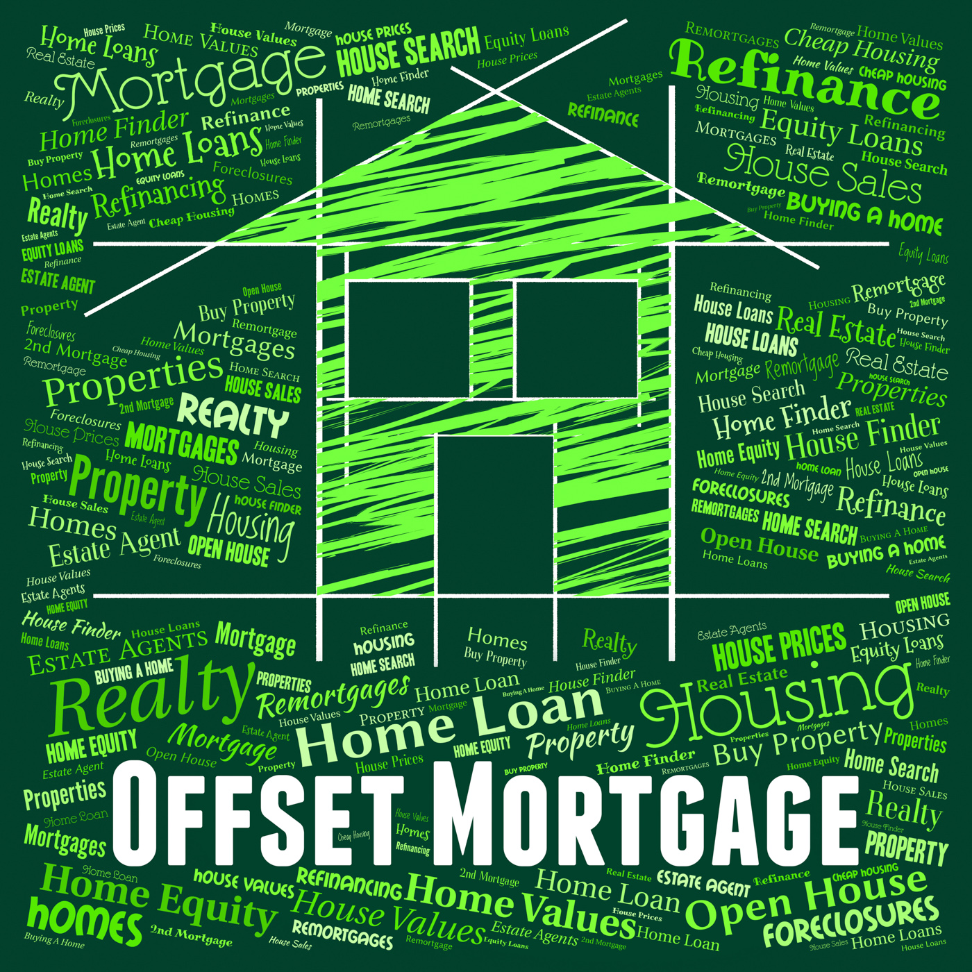Offset mortgage indicates home loan and borrowing photo