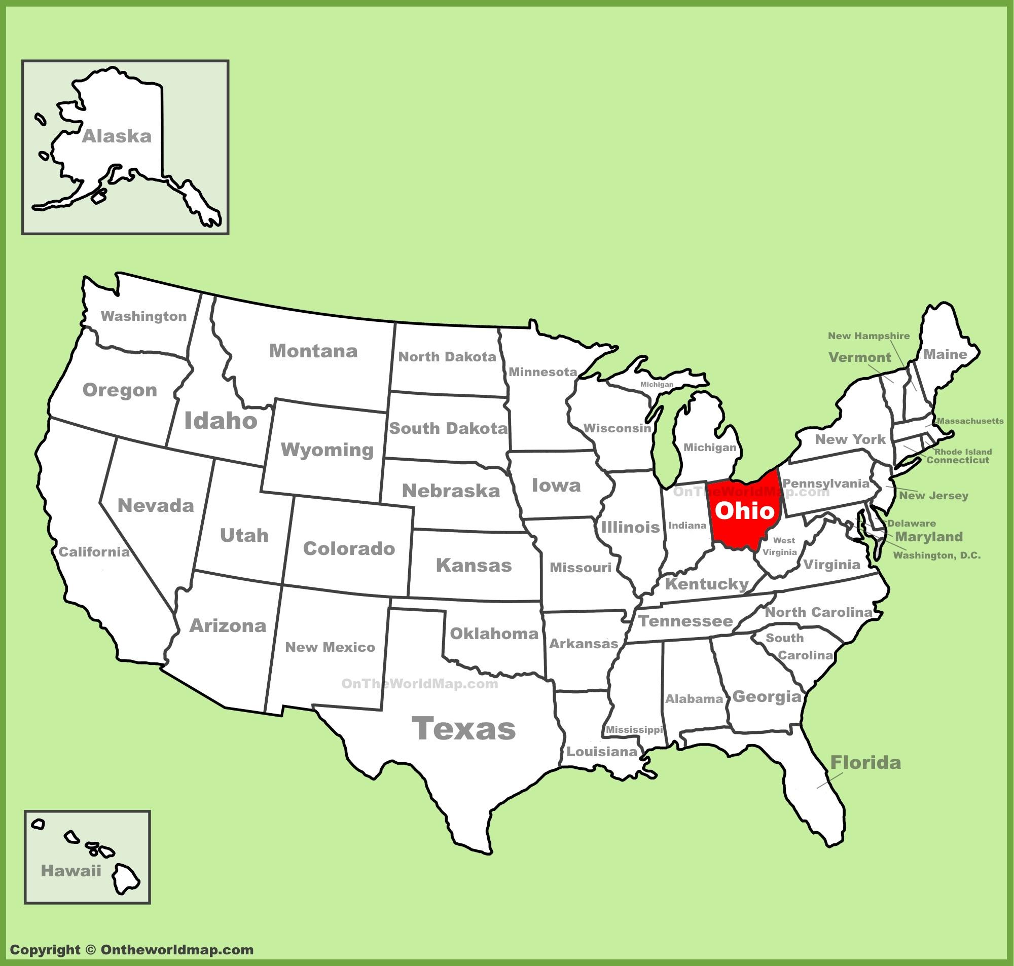 Ohio location on the U.S. Map