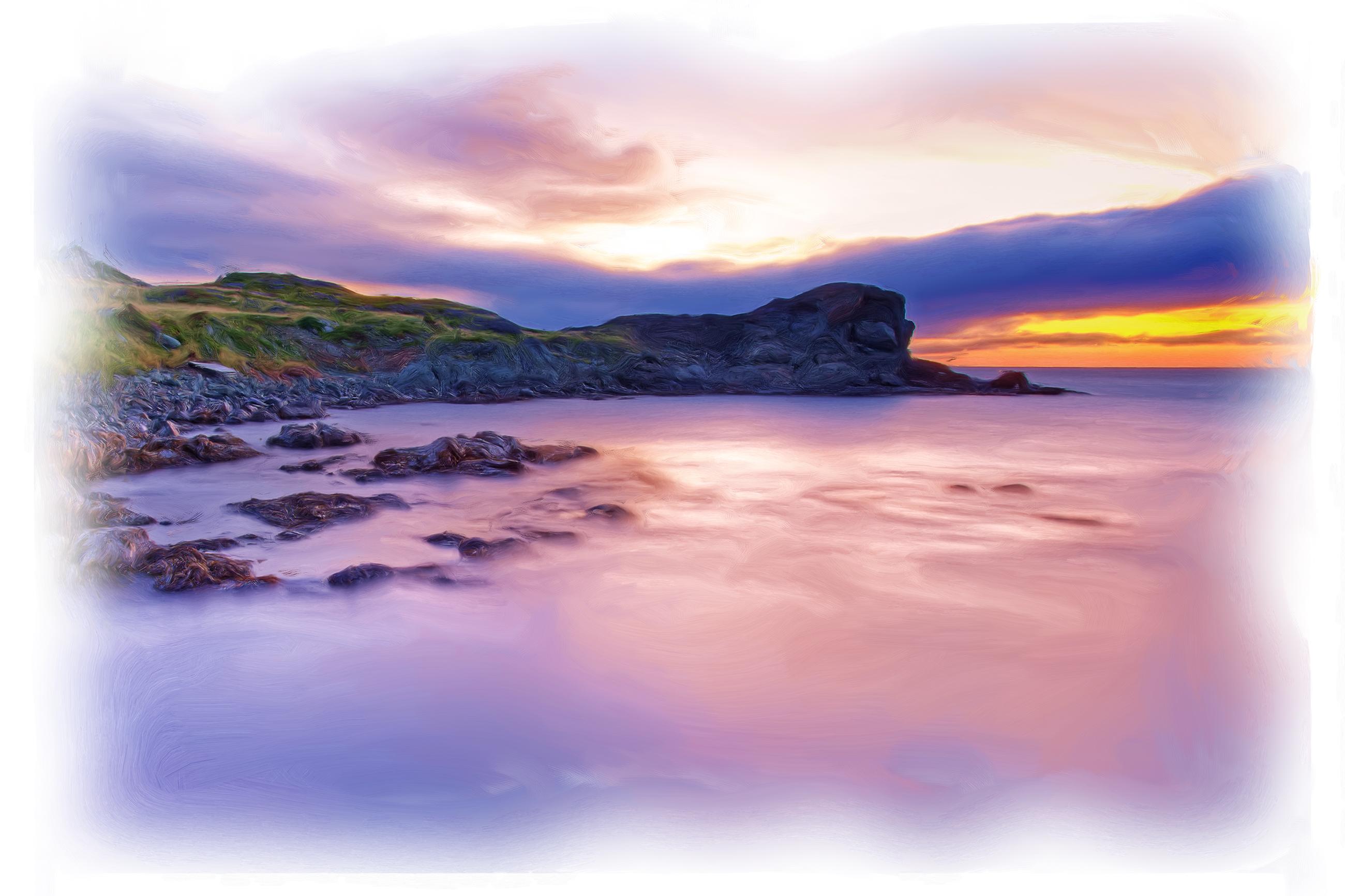 Oil painted shore landscape photo