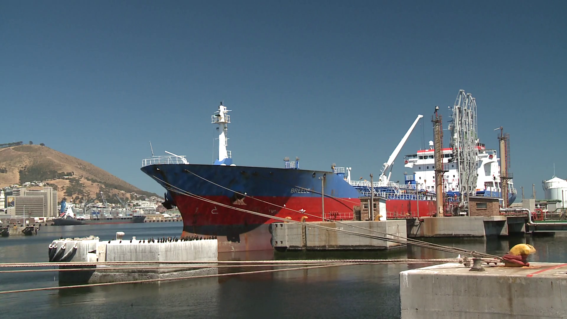 Breede Oil Tanker moored in the harbour at Cape Town harbour, South ...
