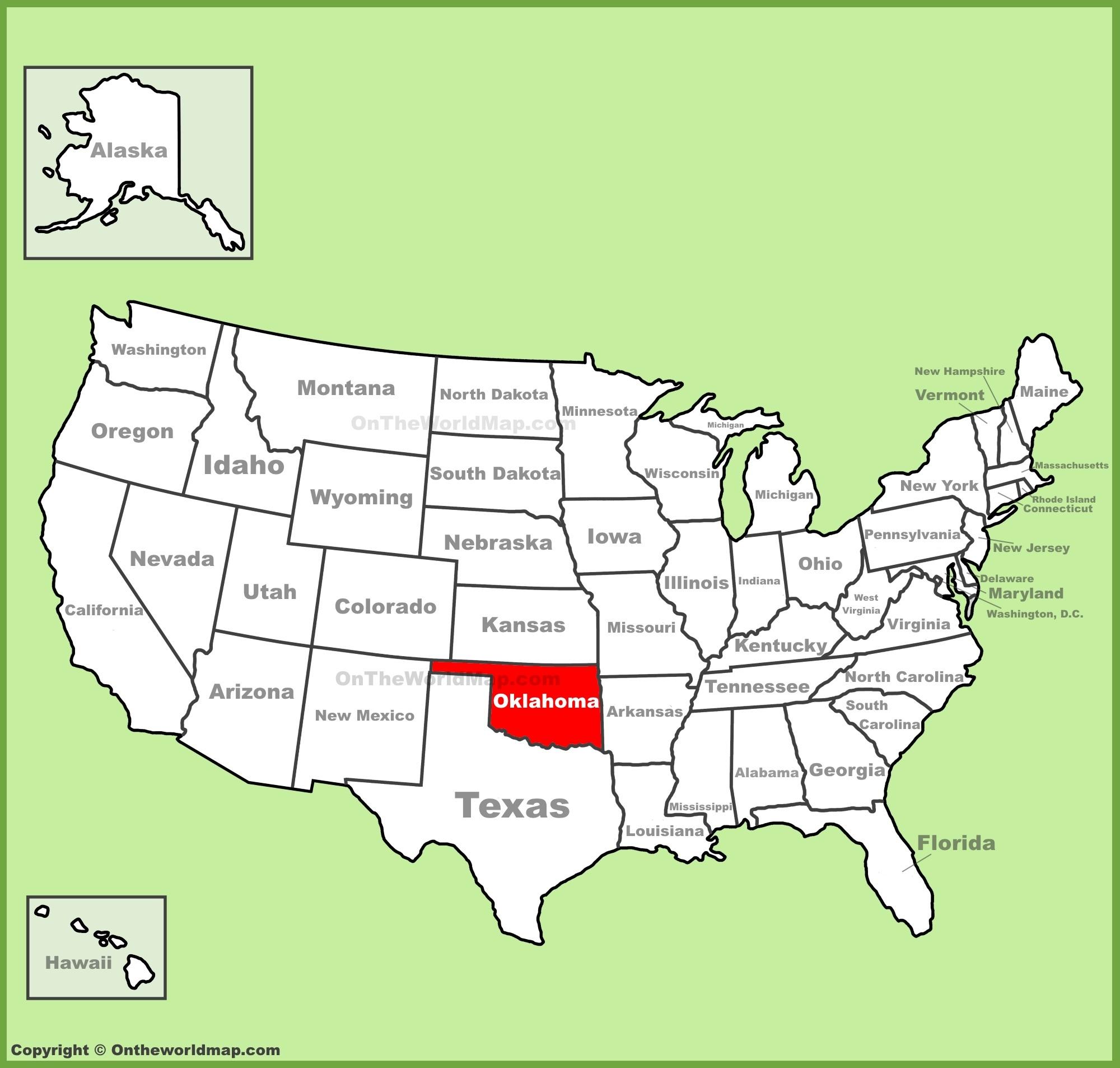 Oklahoma location on the U.S. Map