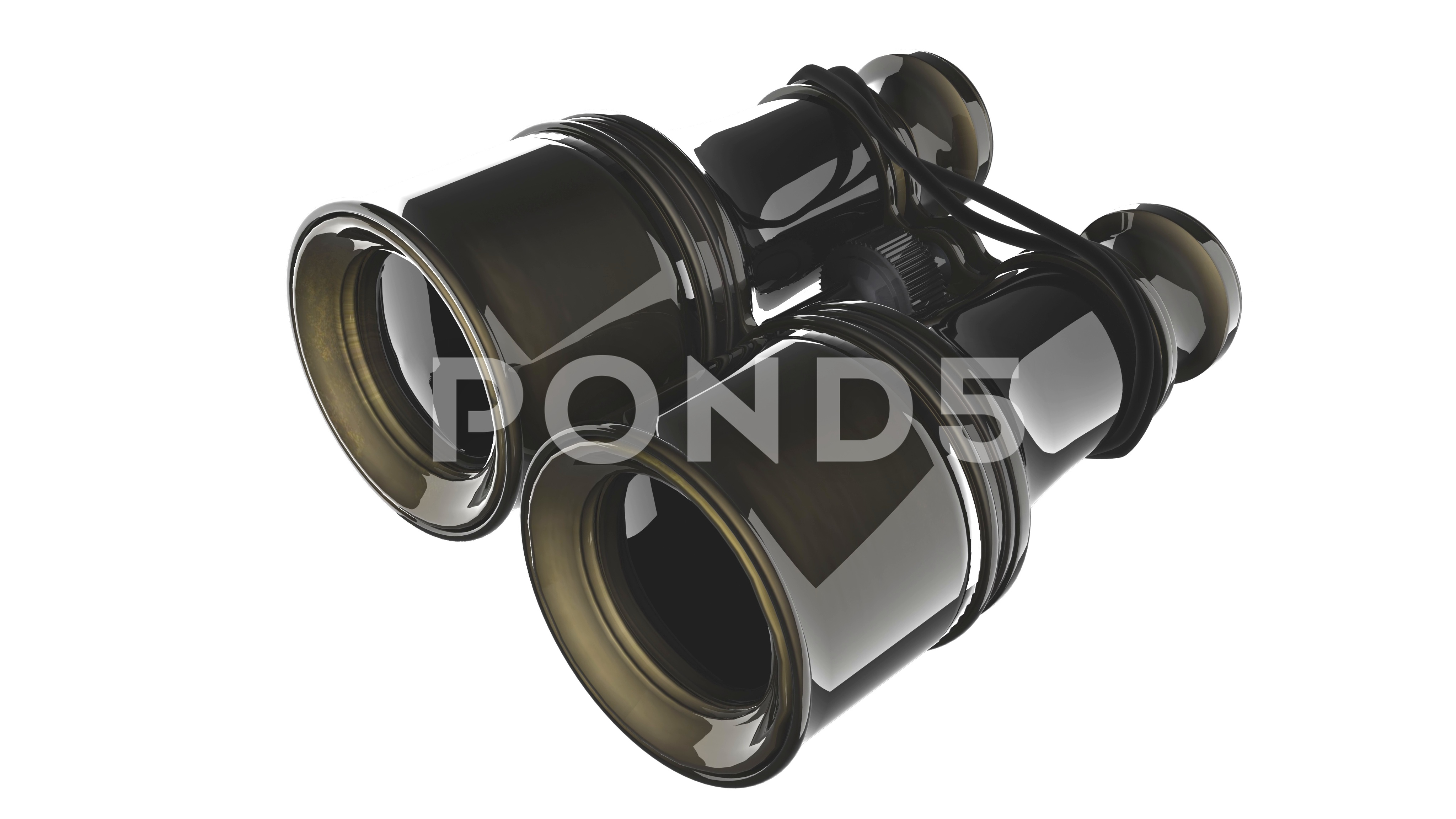 Old military binoculars on white background ~ Video #72915235