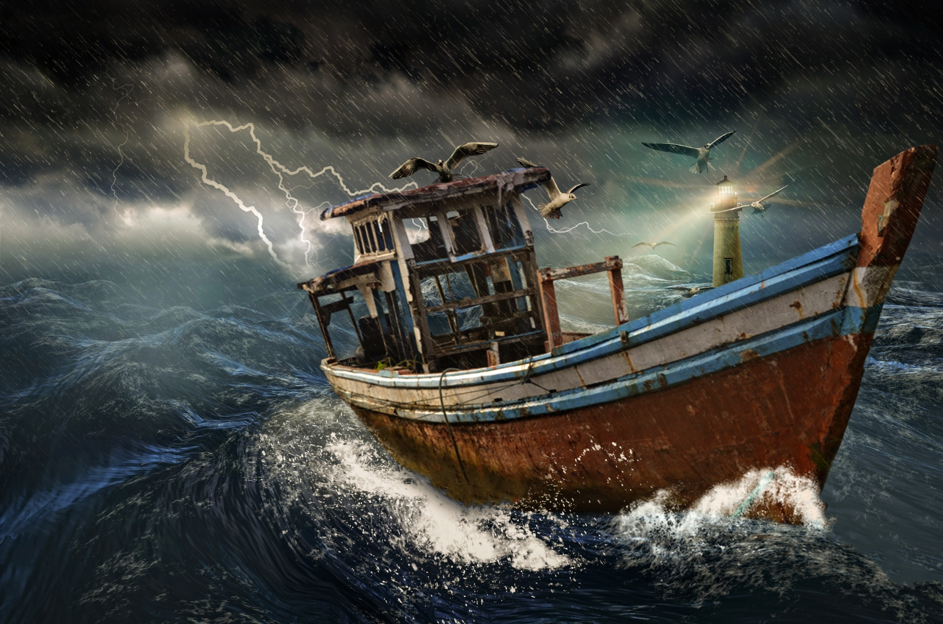 Old Boat In Storm Free Stock Photo - Public Domain Pictures