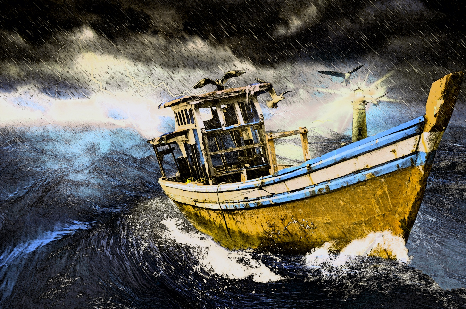 Painting - Old Boat In Storm Free Stock Photo - Public Domain Pictures