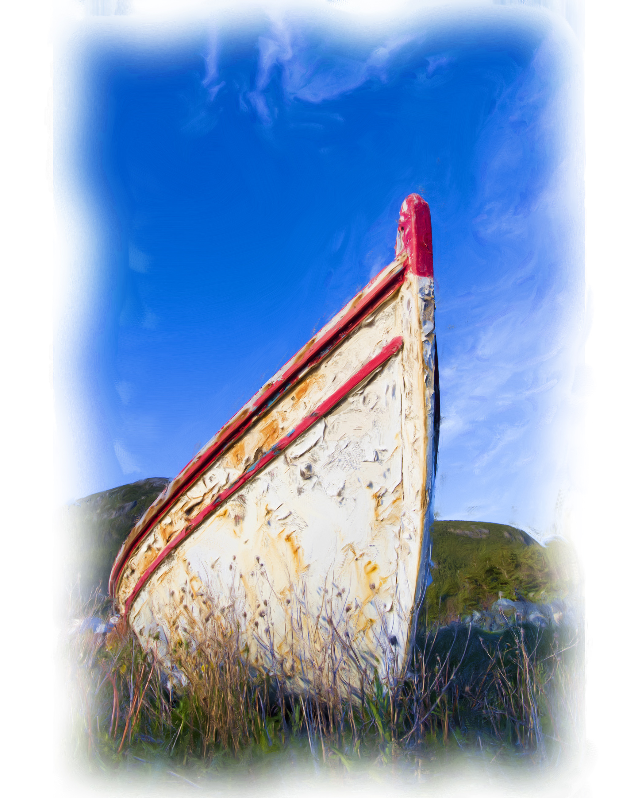 Old boat oil painting photo