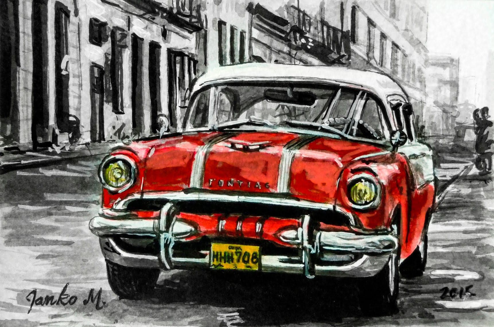 Old car- Cuba drawing with pen and ink - Time lapse - YouTube