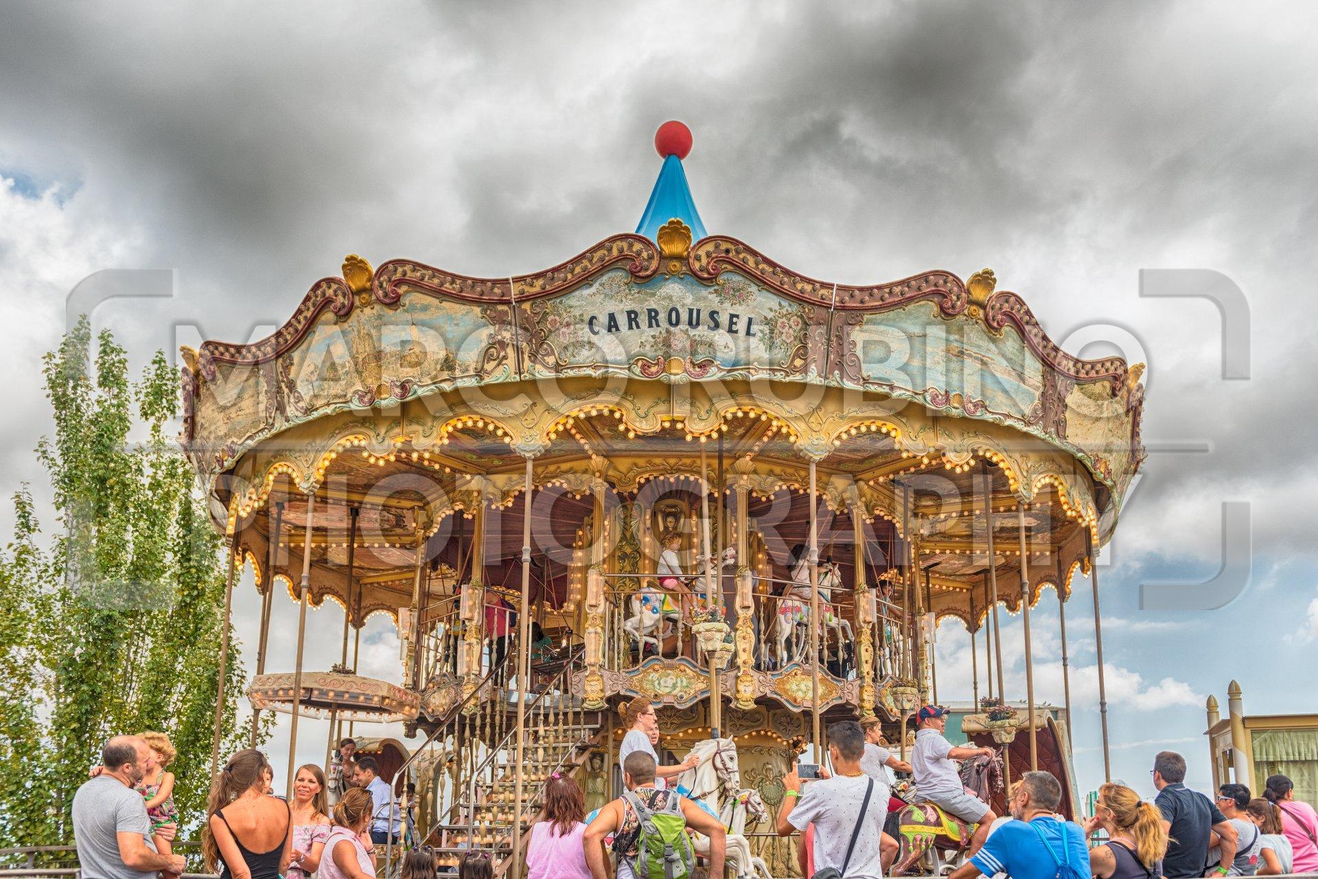 Old vintage carousel at Tibidabo Amusement Park, Barcelona ...