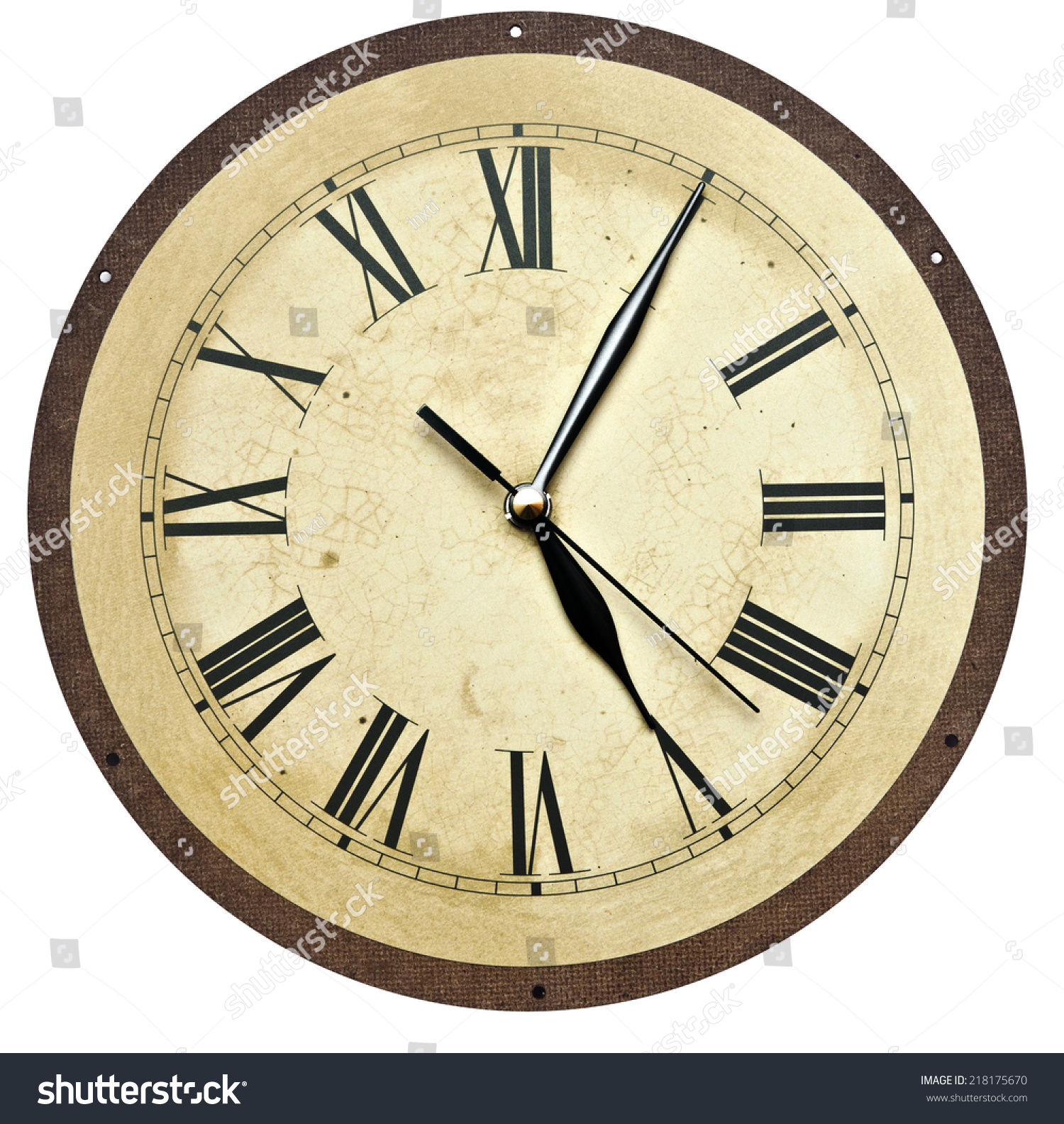 Old Clock Isolated On White Old Stock Photo (Download Now) 218175670 ...