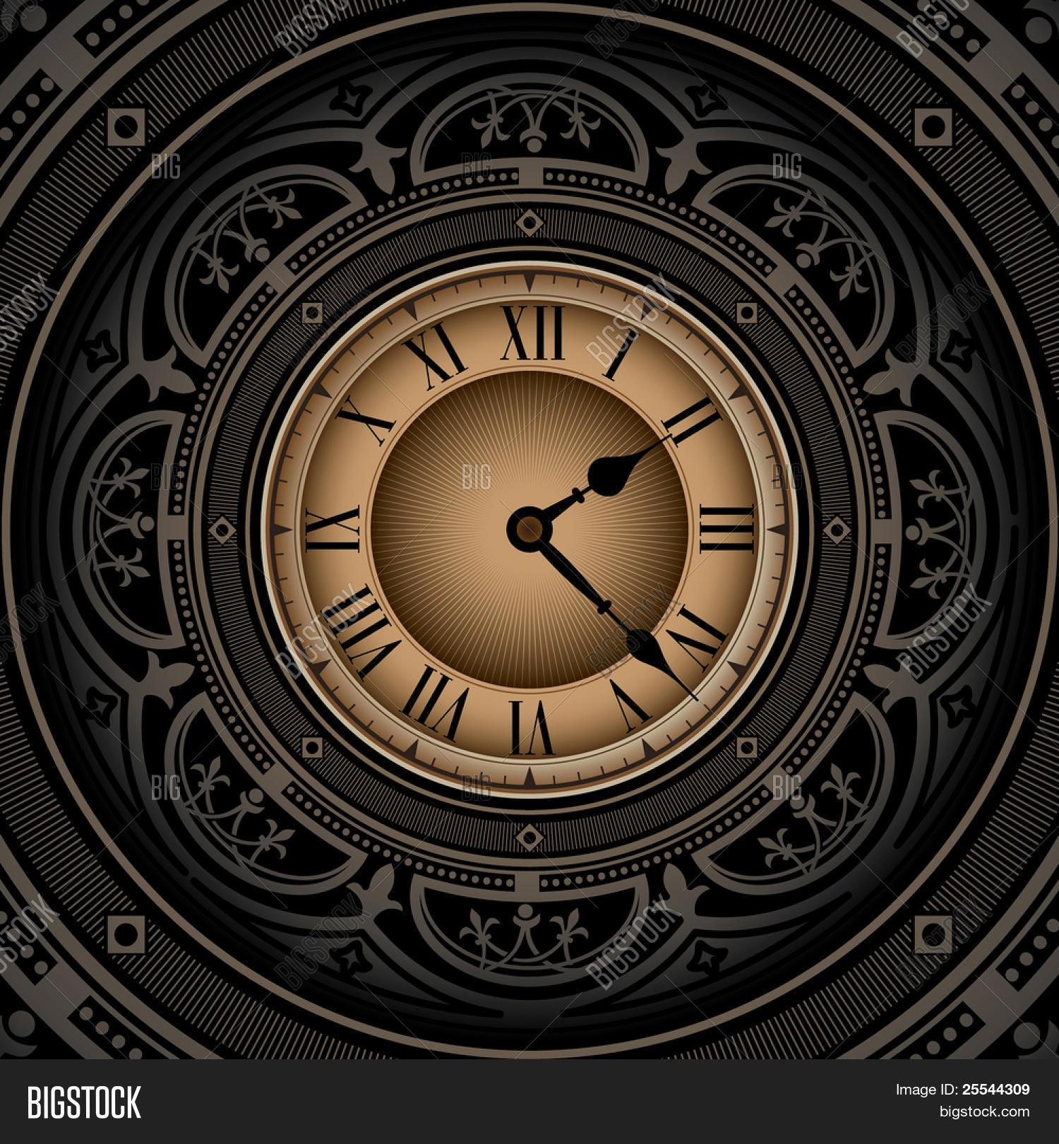 Vintage Background Old Clock. Vector & Photo | Bigstock