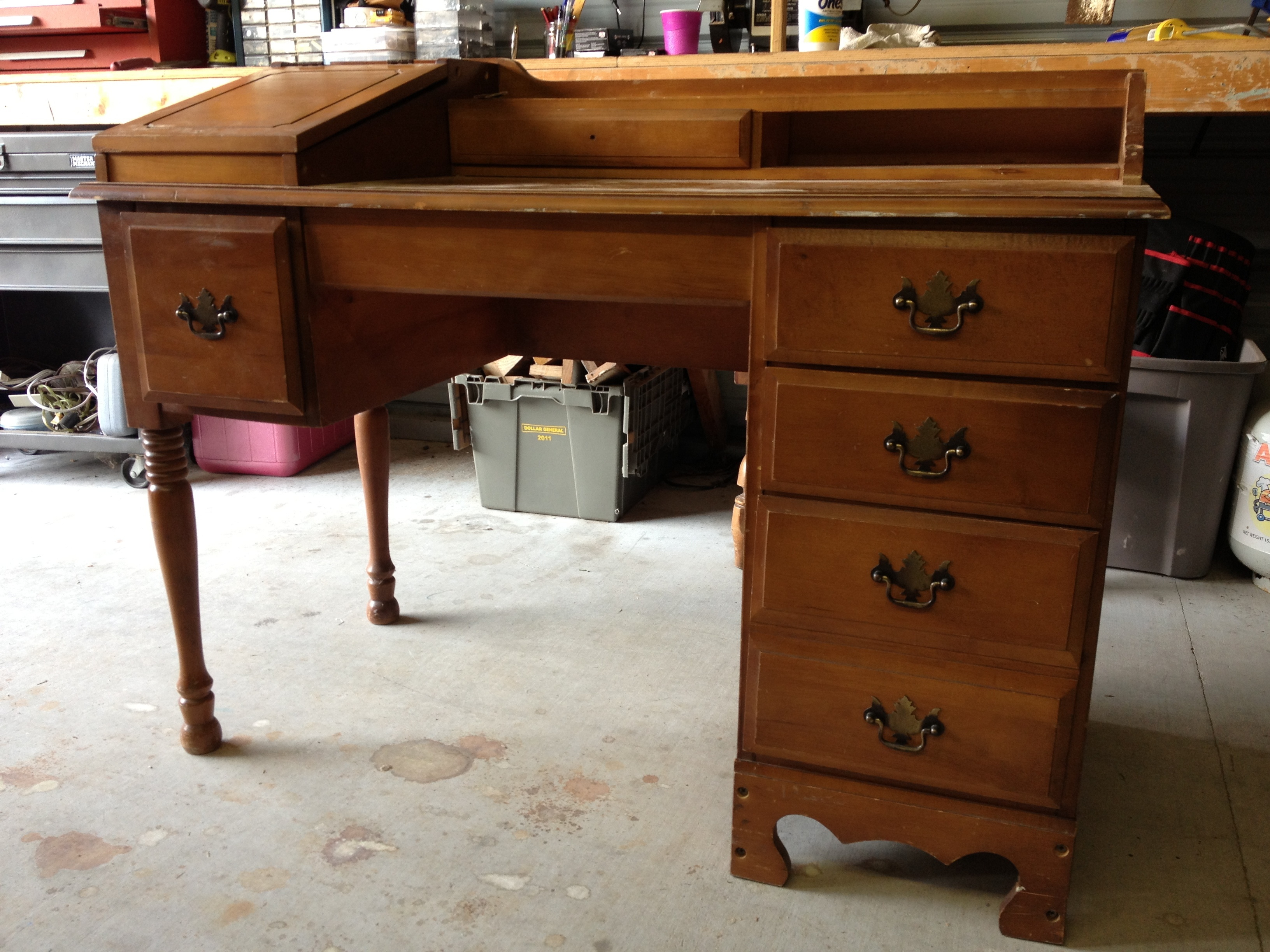 Old Desk. Antique Roll Top Desk. How To Save The Leather Top On A ...