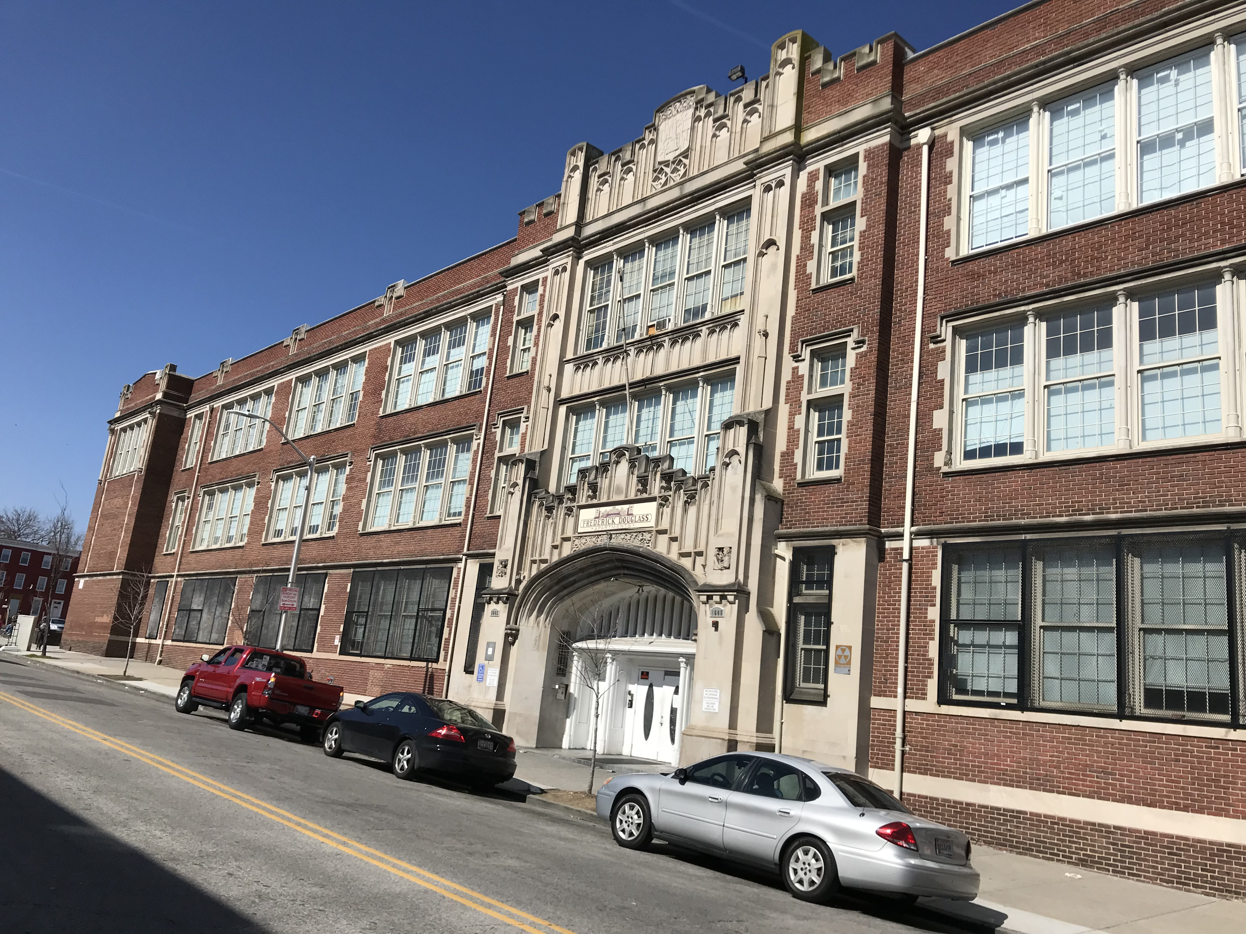 Old Frederick Douglass High School (1924; Owens and Sisco, architects), 1645 N. Calhoun Street, Baltimore, MD 21217, Architecture, Baker Street, Baltimore, Baltimore City Public Schools, HQ Photo