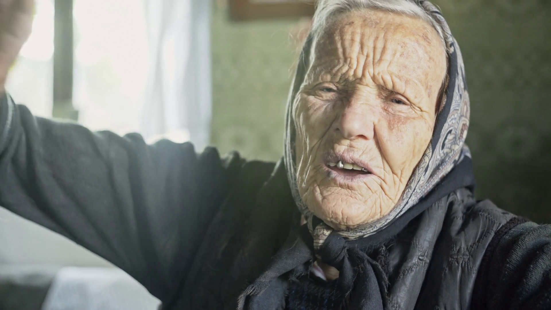 Close up of old granny in the farmhouse Stock Video Footage ...