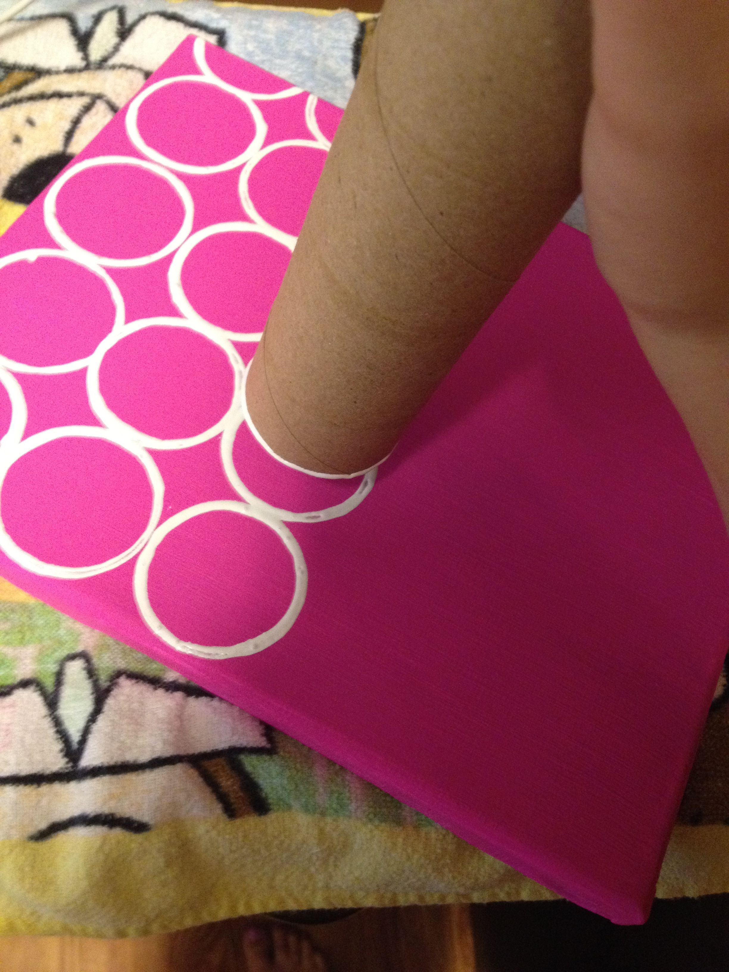 easy teacher gifts - paint canvas, make dots with old toilet paper ...