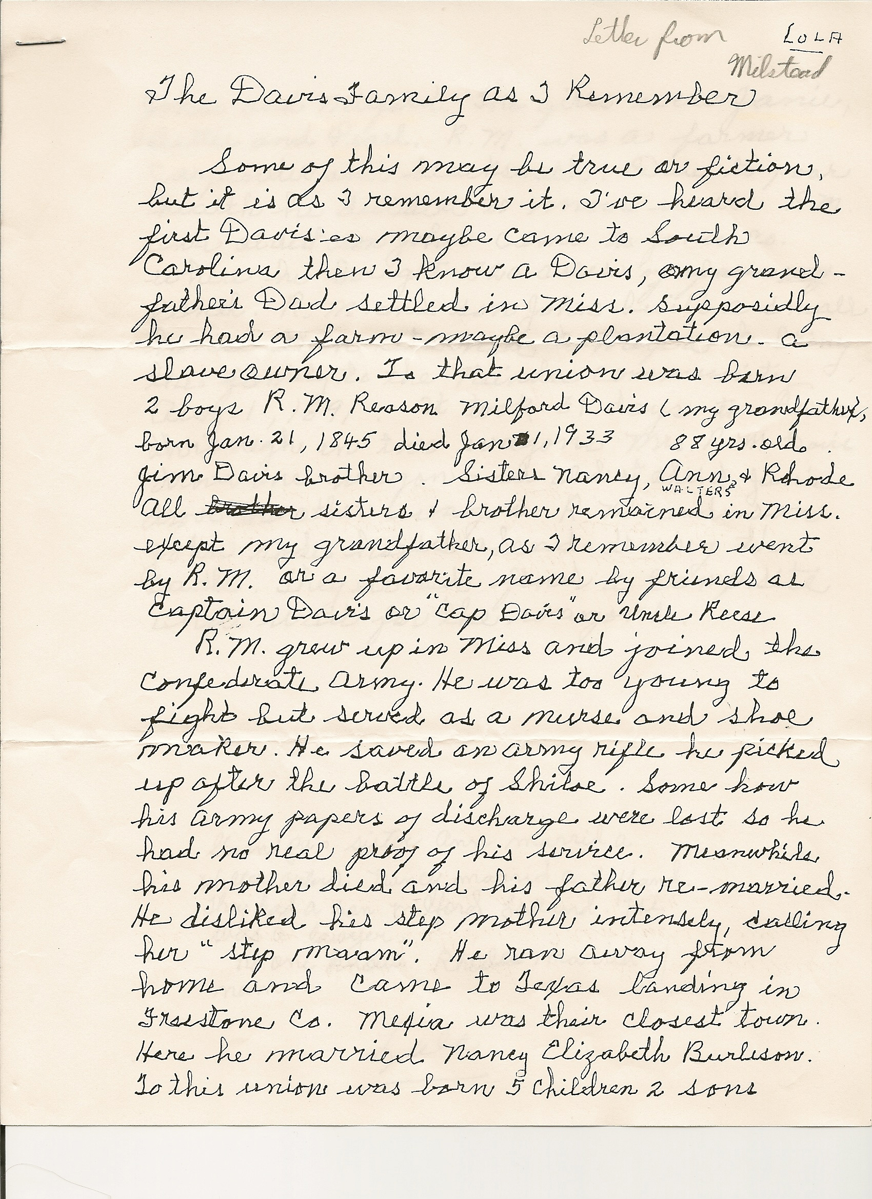 Davis & Burleson Old Family Letters