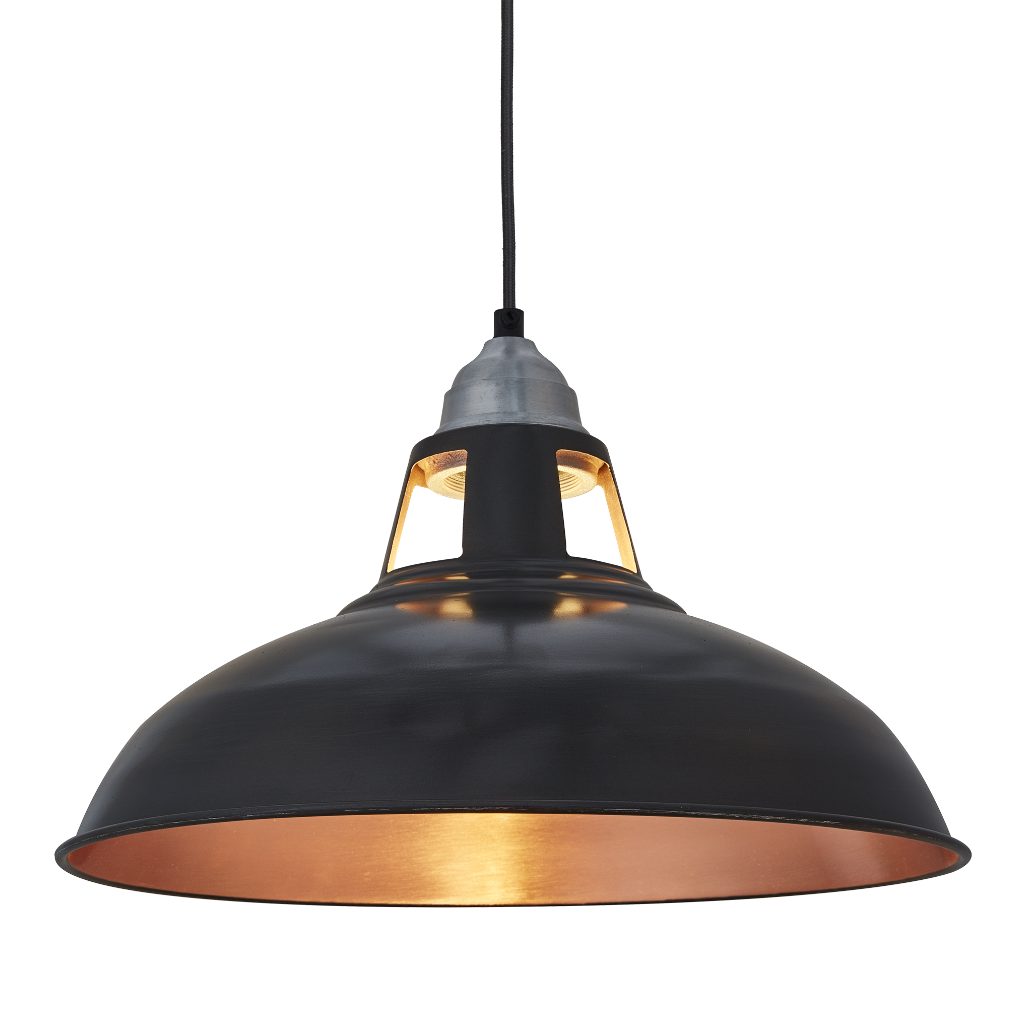 Old Factory Slotted Pendant Light - 15 Inch - Pewter & Copper ...