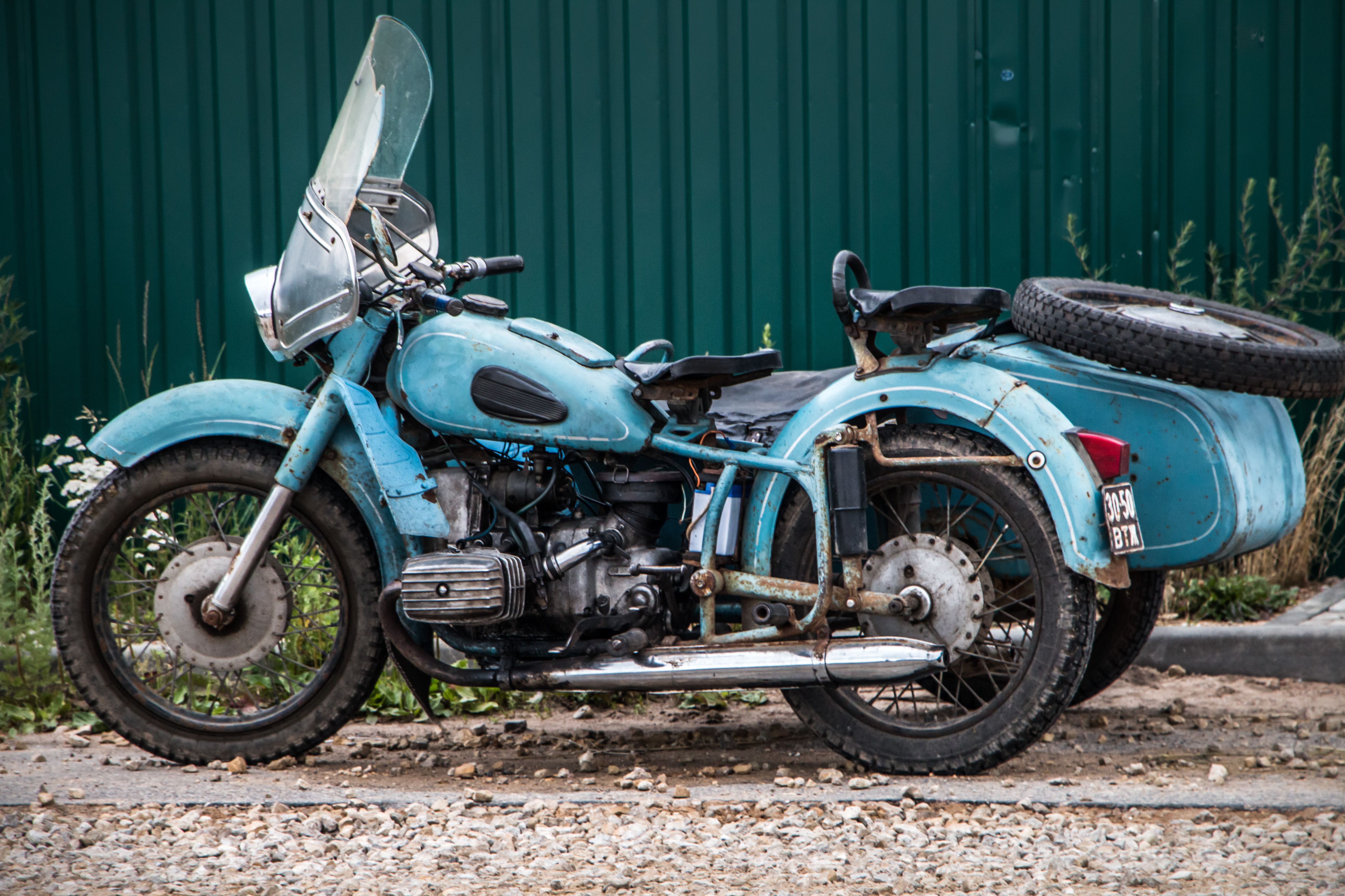 Old Motorcycle, Bike, Blue, City, Lovely, HQ Photo