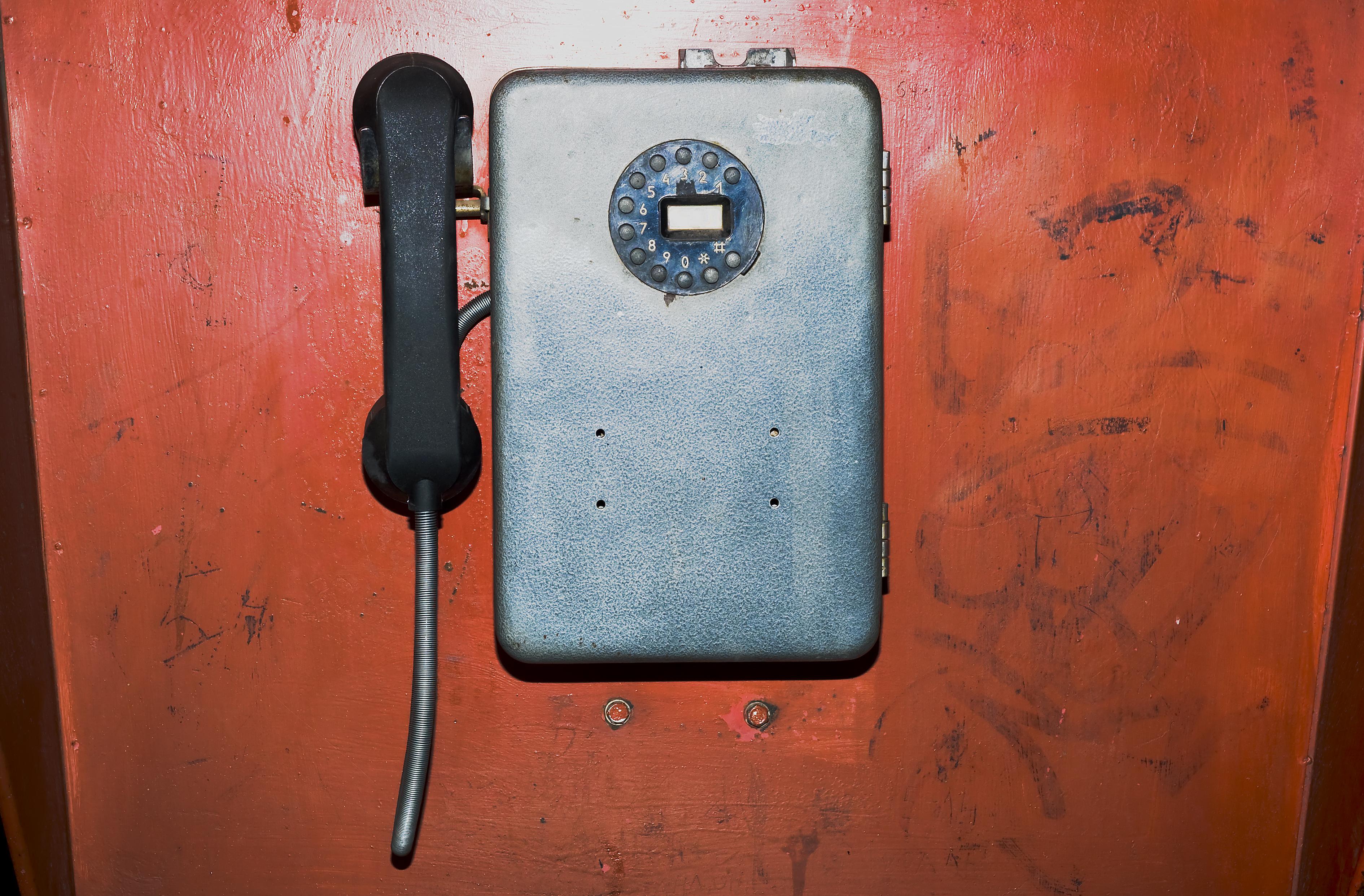 Old phone, Broken, Grunge, Red, Public, HQ Photo