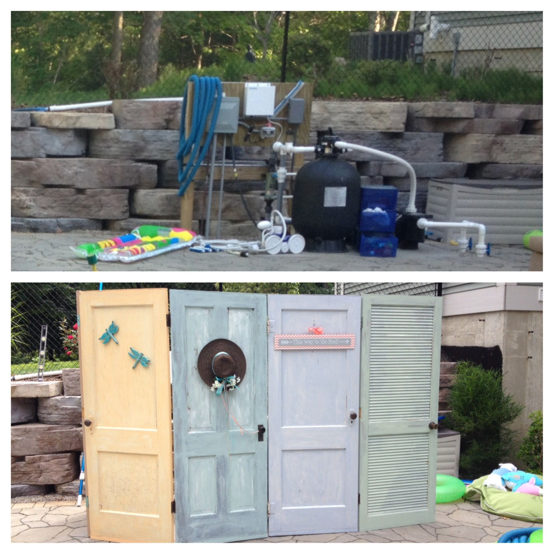 Old doors as an outdoor screen to hide the pool equipment. | For the ...