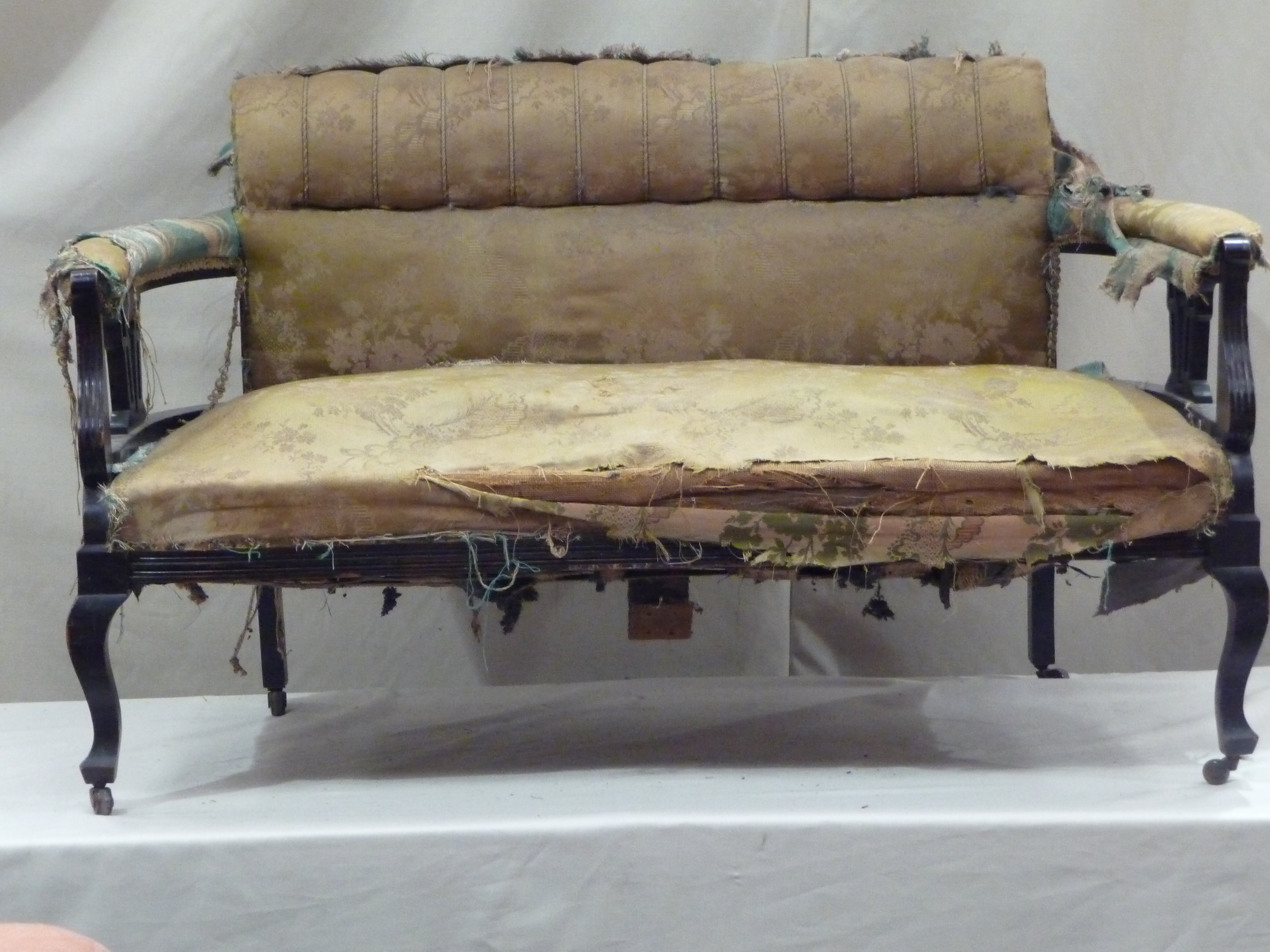 Superieur Upholstery You Can Trust Old Fabric Victorian Style Sofa Upholstery With  Black Wood Frame Ideas ...