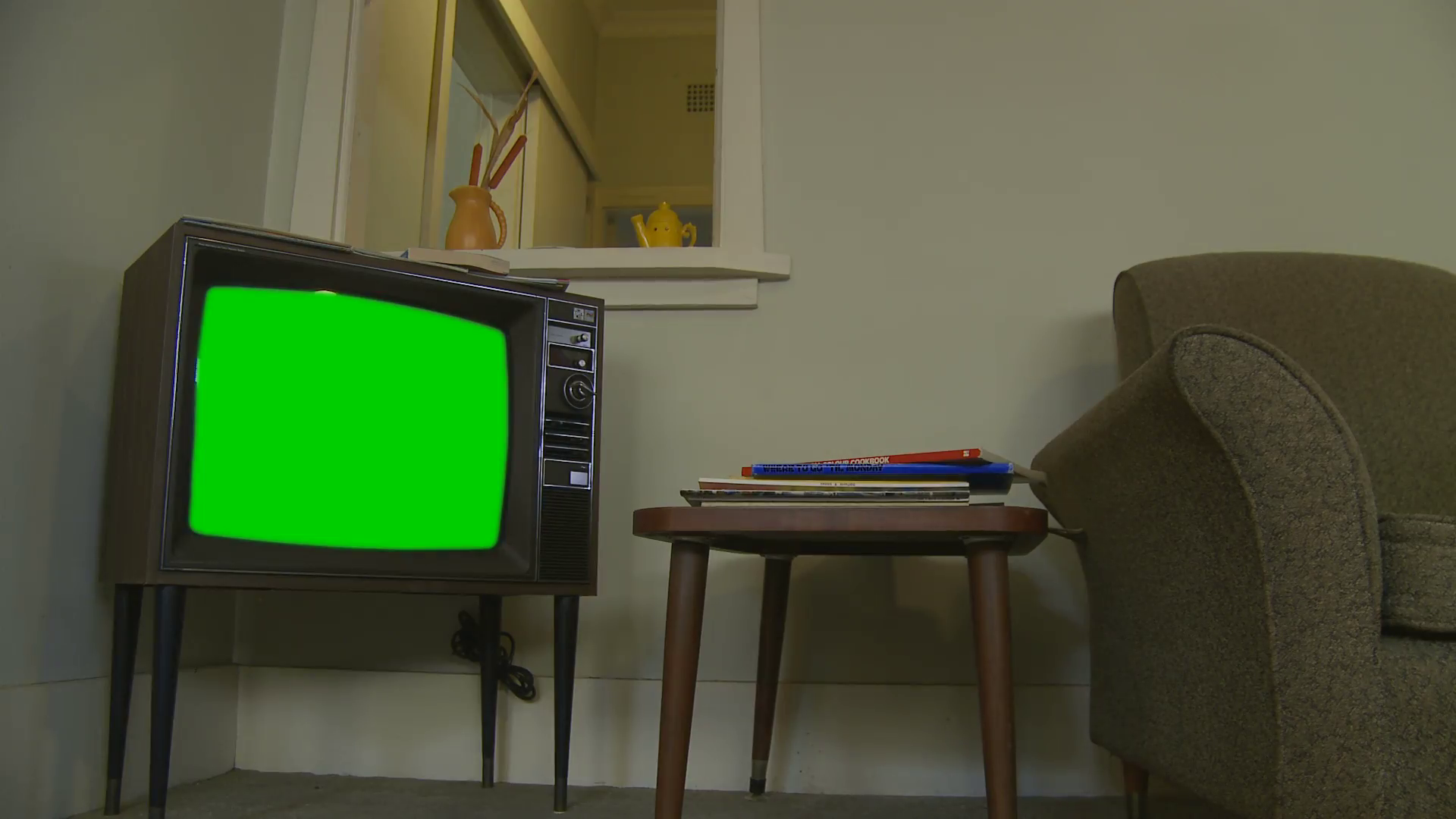 Old television with green chroma key - property release Stock Video ...