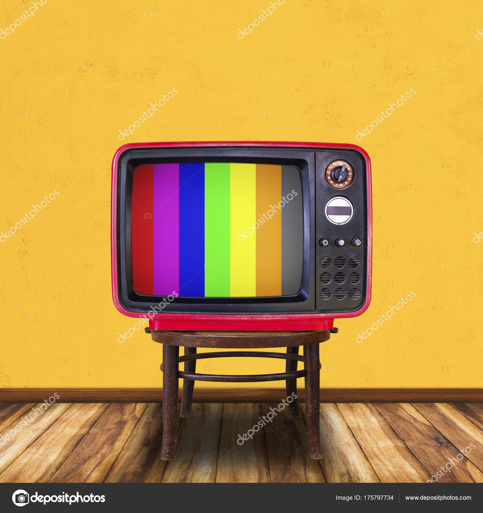 Old television on wood chair in yellow room background. — Stock ...