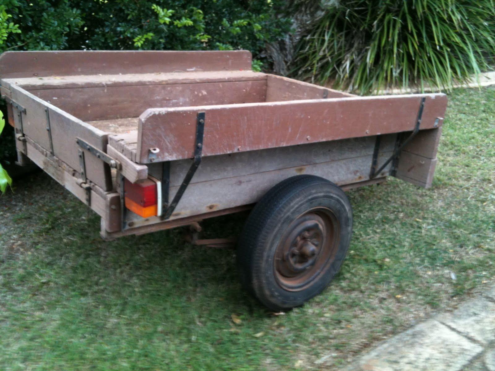 the old boathouse: Old vintage wooden car trailer