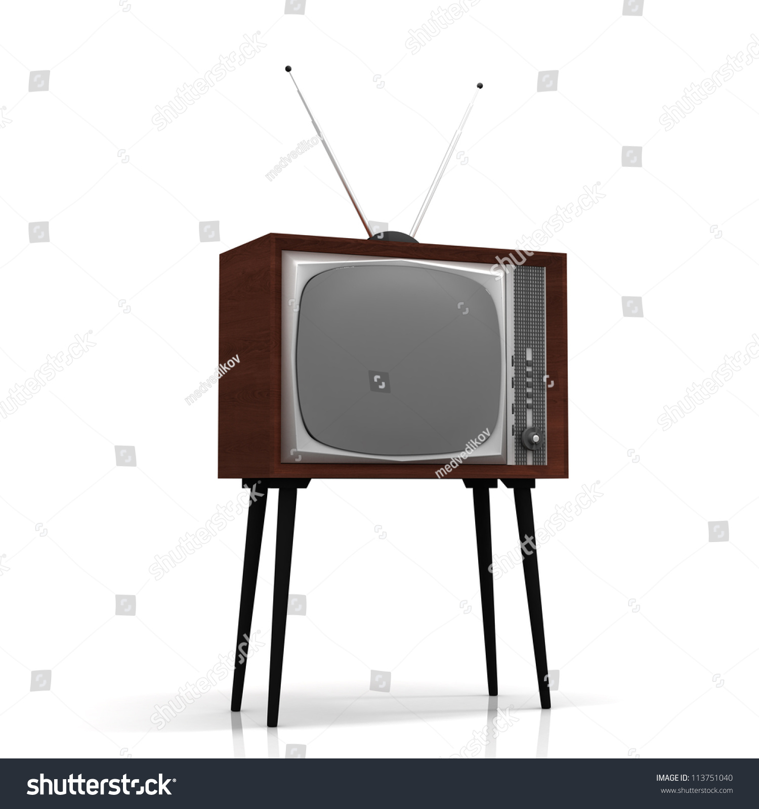 Royalty-free Old TV on legs with antenna #113751040 Stock Photo ...