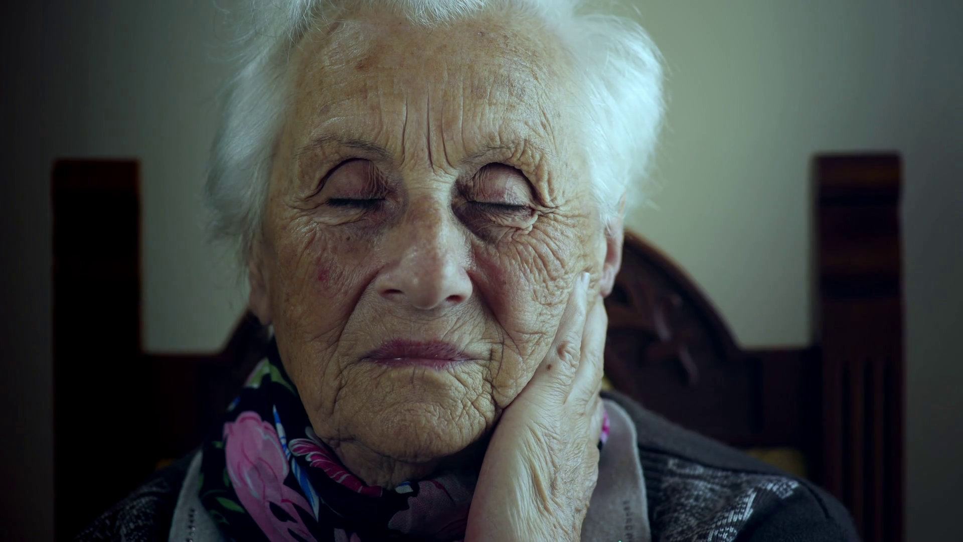 sad old woman with makeup closing her eyes Stock Video Footage ...