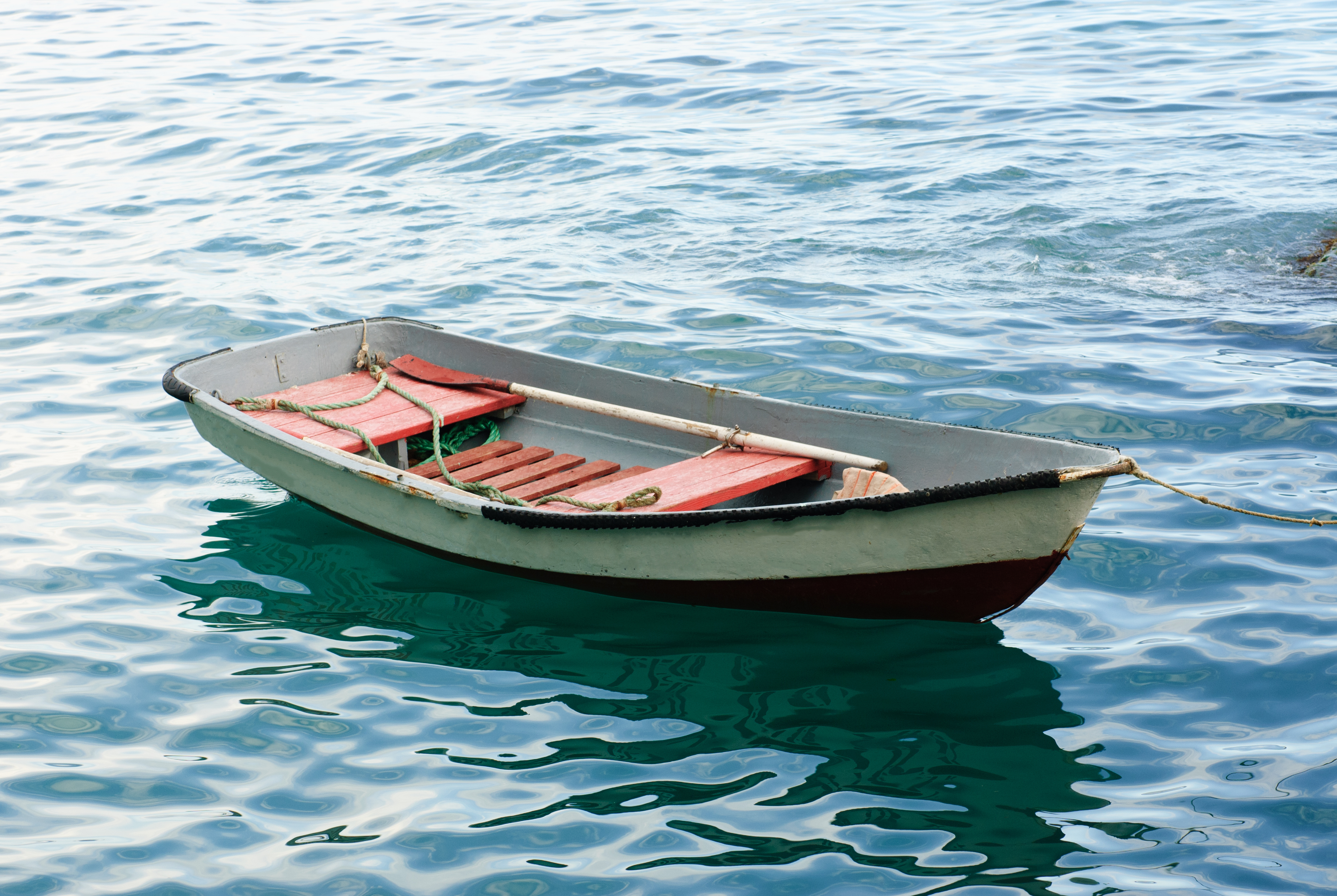 Weatherby Consulting   Lifeboat with paddle. Old wooden boat