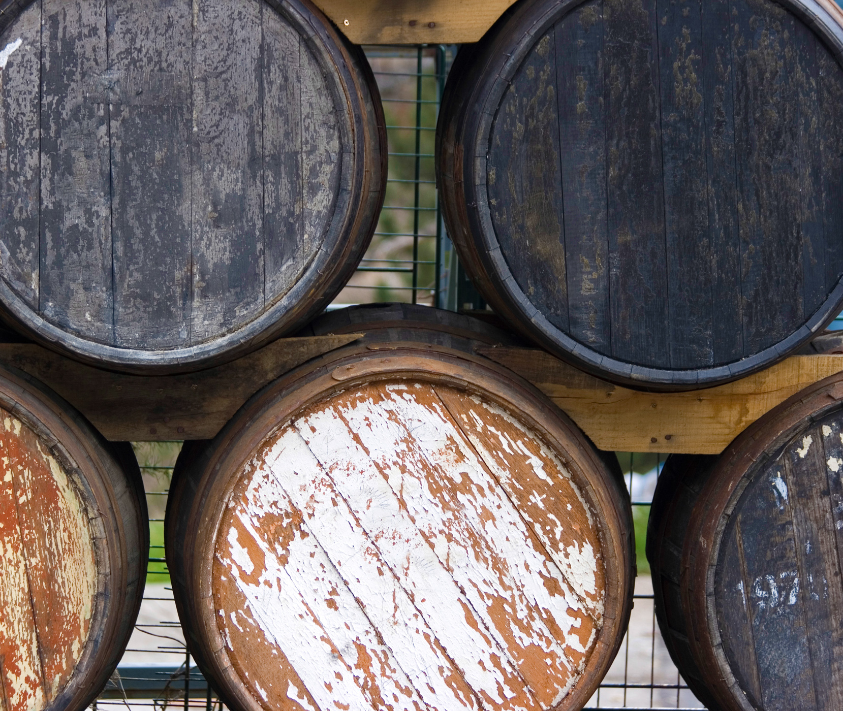 Old wooden cask for aging wines photo
