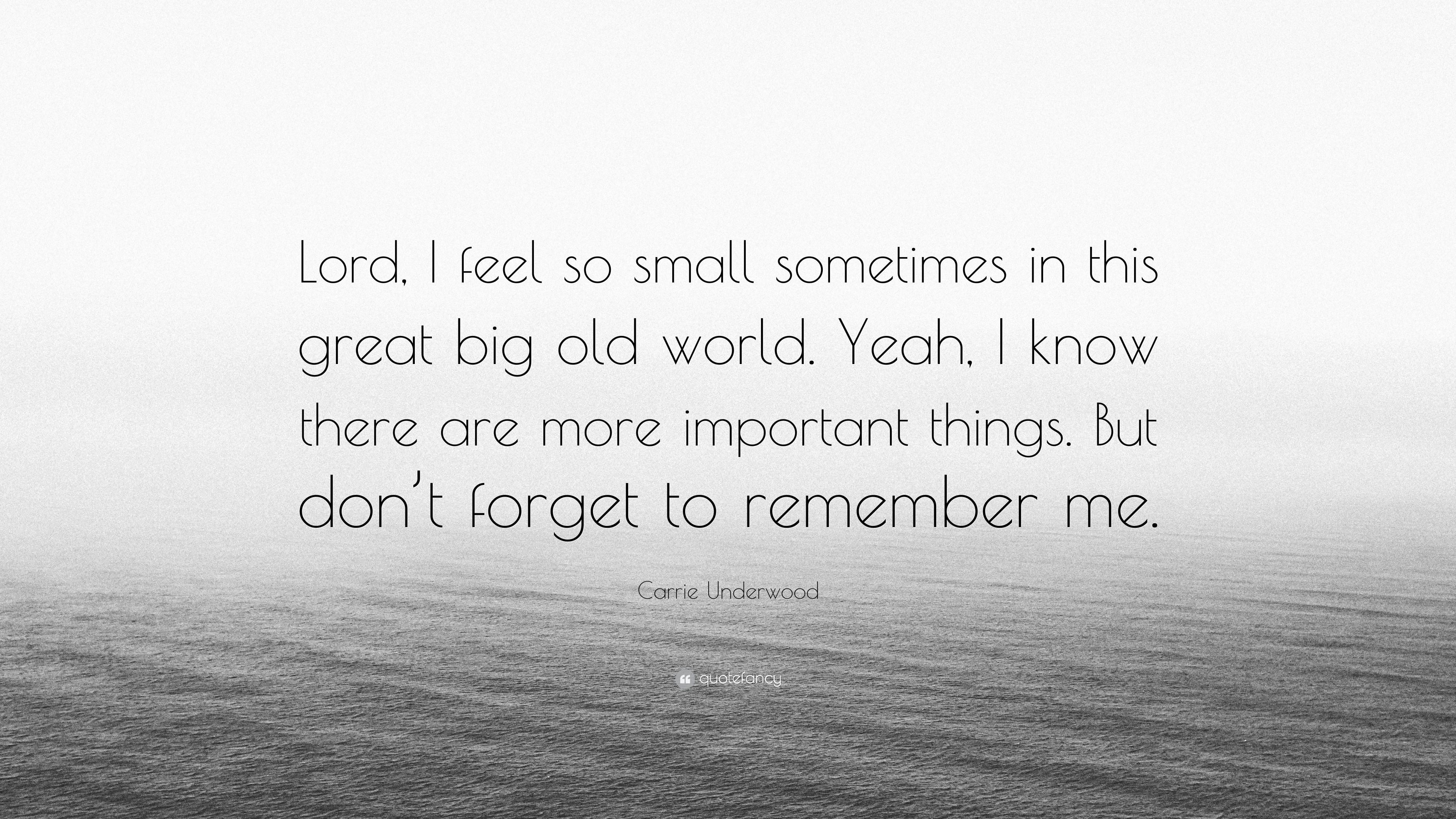 """Carrie Underwood Quote: """"Lord, I feel so small sometimes in this ..."""