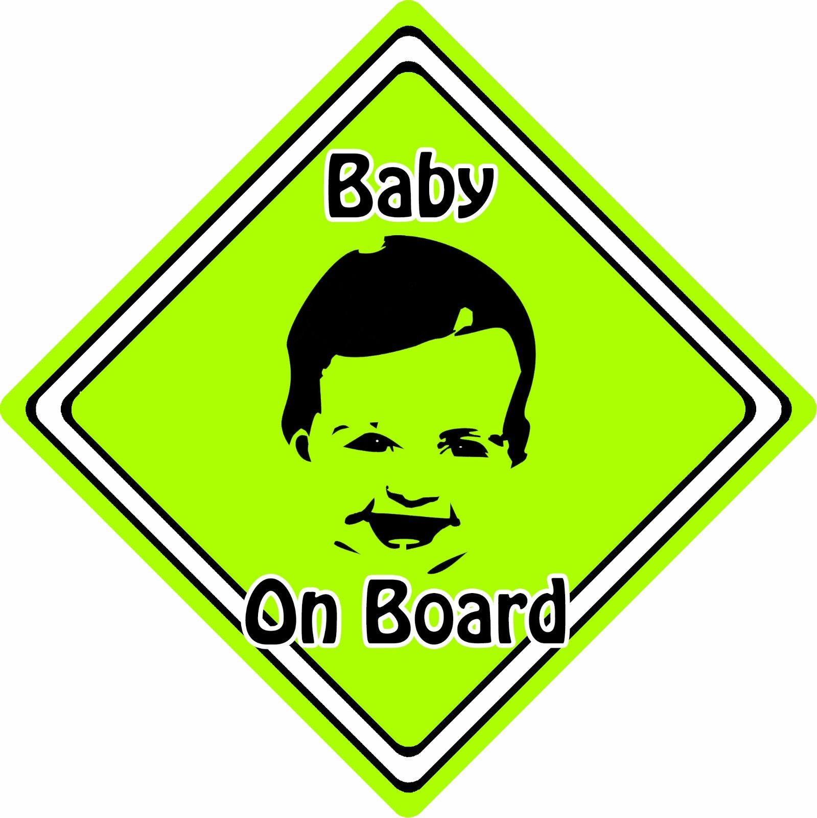 Baby/Child On Board Car Sign ~ Baby Face Silhouette ~ Neon Green ...